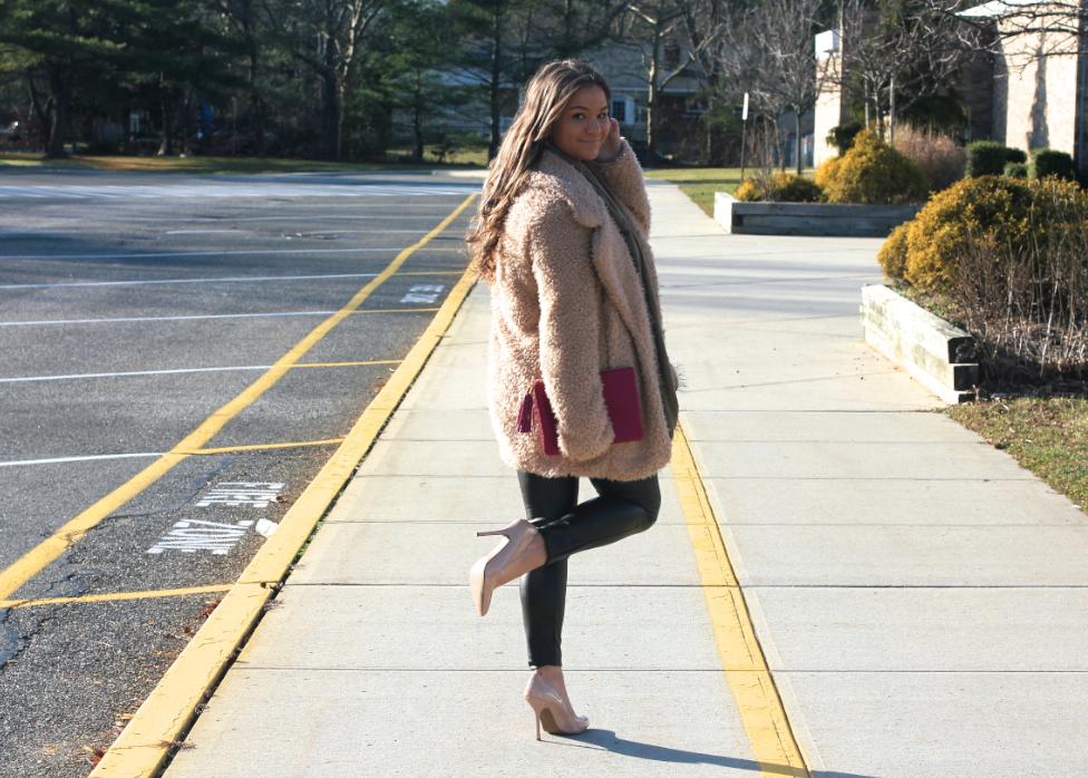 BeigeFuzzyCoat MissyOnMadison WinterStyle HueLeatherLeggings Nudepumps GiGiNYClutch grayinfinityscarf longhairdontcare longislandblogger fashionblogger