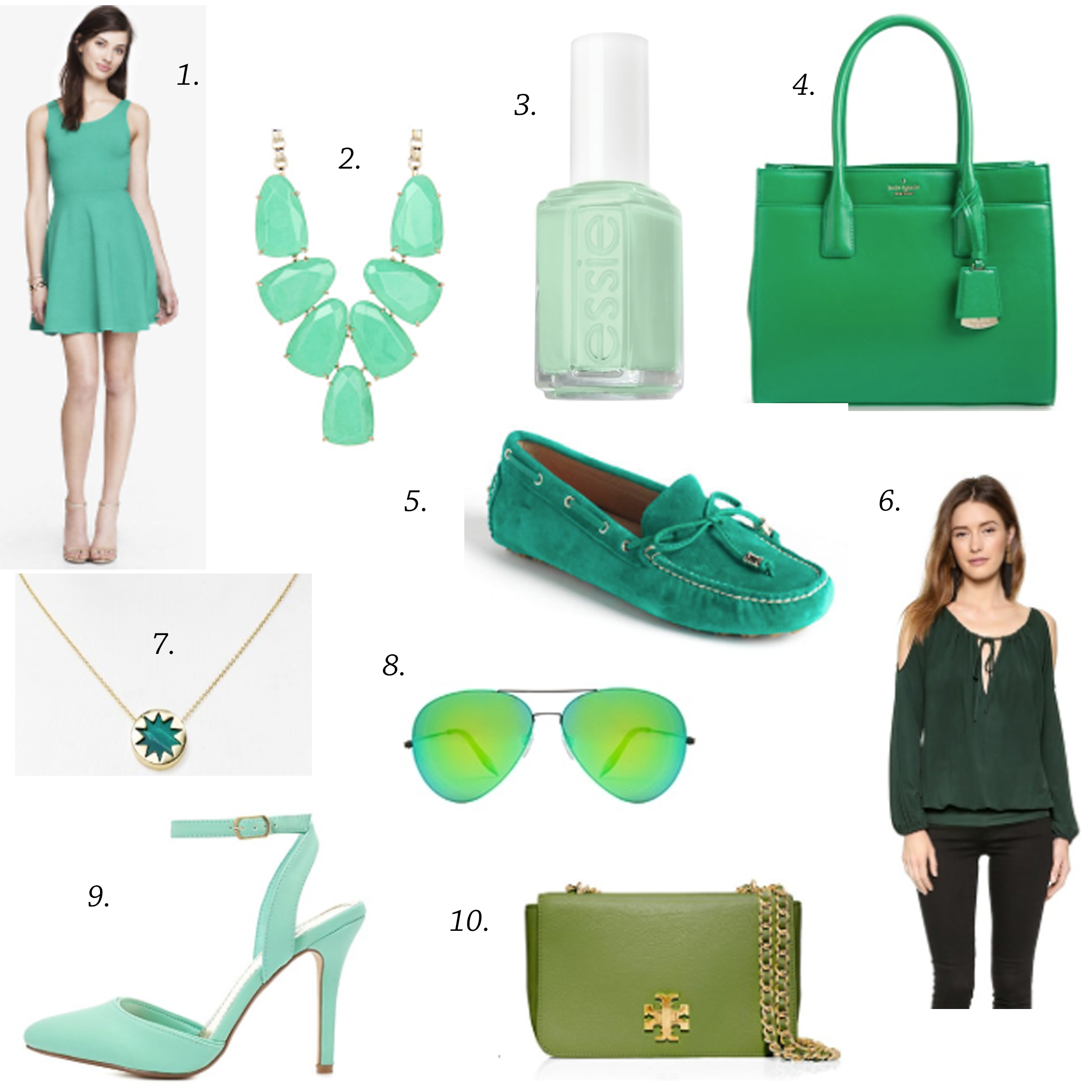 greenguide missyonmadison blog blogger greensatchel katespadetote katespadesatchel greendrivingloafers greenshoes greenhandbag greenbag expressdress greendress greenblouse shopbopblouse greenaviators victoriabeckhamsunglasses charlotterusse greensandals houseofharlownecklace greennecklace kendrascott kendrascottnecklace essie essienailpolish mintcandyapple greennailpolish longislandblogger spring springstyle springshoppingguide springtrends greenforspring