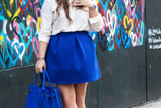 melissatierney, missyonmadison, nyc, heartwall, lovewall, graffitiart, graffiti, blueskirt, whitebuttondown, bluesatchel, mirroredaviators, whiteanklestrapsandals, raybans, springstyle, spring, streetstyle, ootd, outfitinspo, springcolors, what to wear to work in the spring,