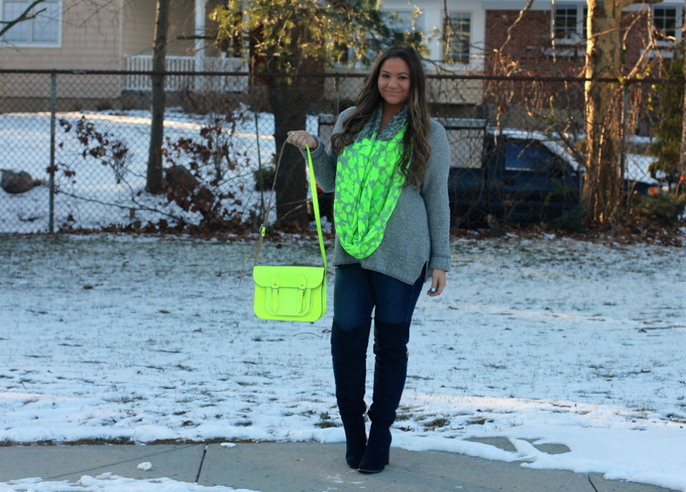 missyonmadison, melissa tierney, blog, blogger, fashion blog, fashion blogger, long island, snow, spring, spring style, spring trends, outfit inspo, ootd, spring outfit inspo, gray sweater, gray v neck sweater, neon cambridge satchel, poshmark, resale, sell online, contest, giveaway, enter to win, neon scarf, navy boots, navy suede boots, otk boots, skinny jeans, navy suede otk boots, cambridge satchel, long island blogger, photo shoot,
