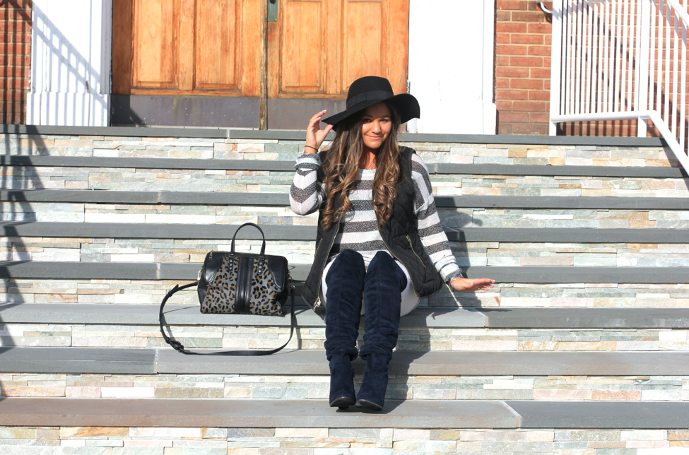 missyonmadison, melissa tierney, long island, long island blogger, long island blog, black floppy hat, coachella style, coachella trends, white skinny jeans, old navy, old navy white jeans, black quilted vest, black and white striped sweater, striped sweater, ootd, outfit inspo, spring style, spring trends, kelsi dagger, kelsi dagger leopard satchel, leopard satchel, navy suede over the knee boots, fashion blog, fashion blogger, how to wear white jeans, how to wear a floppy hat, what to wear for coachella,