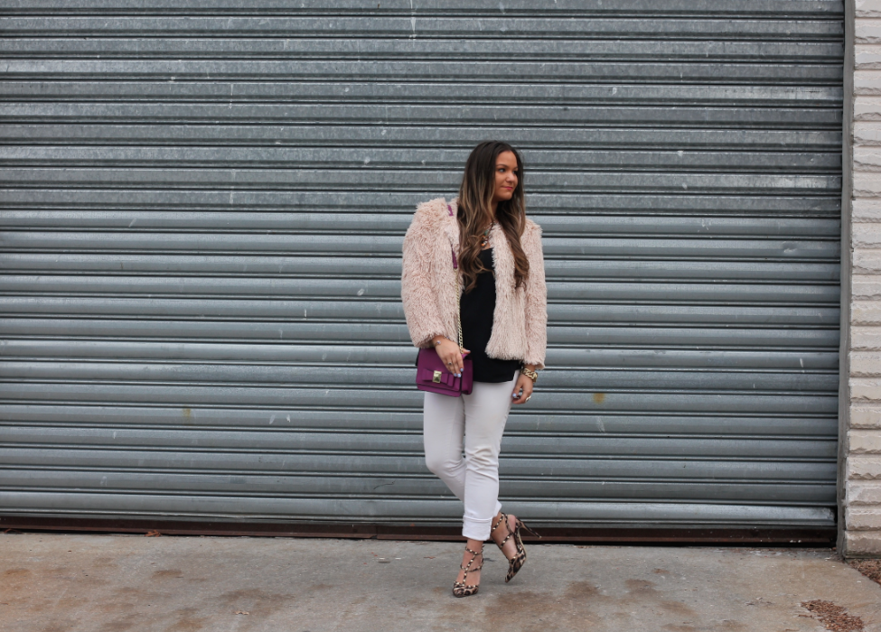 missyonmadison, blog, blogger, fashion blog, fashion blogger, pink shaggy coat, shaggy coat, cropped shaggy coat, necessary clothing, leopard pointed toe pumps, rockstud pumps, leopard inspired rockstud pumps, white skinny jeans, old navy, old navy skinny jeans, black chiffon camisole, prima donna statement necklace, statement necklace, poshmark, fuscha crossbody bag, bow crossbodybag, target style, long island, long island blog, photography, how to wear white jeans, srping trends 2015, spring style, date night outfits, what to wear for a date, melissa tierney,