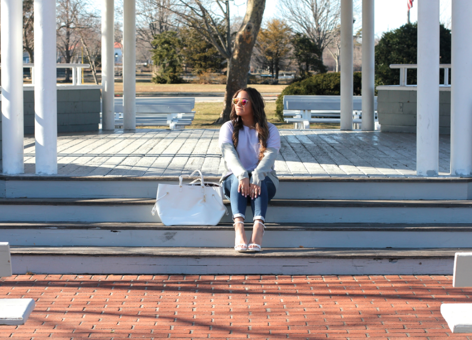 missyonmadison, blog, blogger, fashion blog, fashion blogger, long island, long island blogger, street style, style blog, style blogger, spring style, ootd, spring outfit ideas, white jeans, white skinny jeans, old navy, white tote, poshmark, resale, white henri bendel tote, gray sweater, gray and purple sweater, kohls, kohls sweater, white ankle strap sandals, white heels, white sandals, long island photography, outfit inspo,