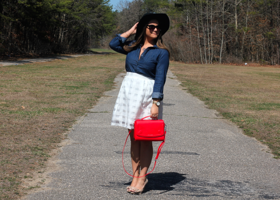 missyonmadison, melissa tierney, shopthemint, giveaway, entertowin, contest, giftcard giveaway, spring, spring style, spring outfit inspo, spring outfit inspiration, fashion, fashion blog, fashion blogger, street style, mint julep, white pleated skirt, white midi skirt, nude open toe pumps, nude suede pumps, red bag, red satchel, miss locker red bag, red purse, chambray top, chambray pull over, wayfarers, wayfarer sunglasses, long island, long island blog, long island blogger,