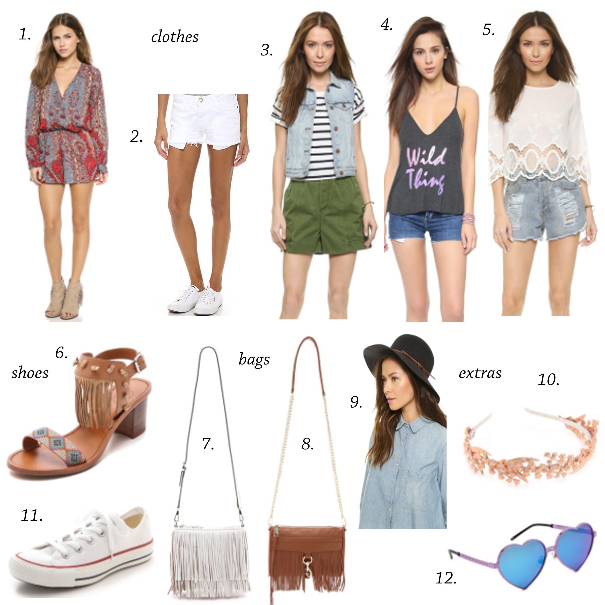 missyonmadison, melissatierney, coachella, what to wear for coachella, boho chic, coachella inspired, fringe, fringe trend, spring, spring style, palm springs, travel, headpieces, flower crown, wildfox, wildfox sunglasses, heart sunglasses, converse, white converse, fringe sandals, fringe bag, rebecca minkoff, rebecca minkoff mini mac, rebecca minkoff fringe bag, white shorts, cut off shorts, rompers, floppy hat, black floppy hat, denim vest, vest, shopbop, shopbopsale, sale picks, online shopping, online sale, retail me not shop bop,