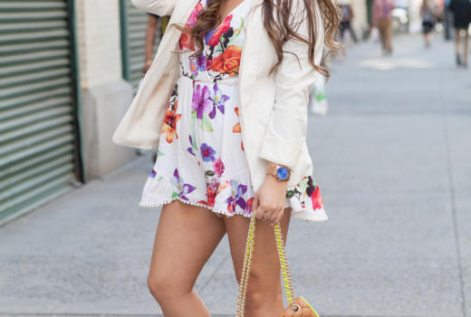 melissa tierney, missyonmadison, blog, blogger, fashion blog, fashion blogger, style, street style, spring, spring style, romper, floral romper, choies, choies romper, white boyfriend blazer, white blazer, block sandals, ray bans, blue ray bans, rebecca minkoff affair bag, tan quilted rebecca minkoff bag, mirrored aviators, nyc, long island blogger, floral rompers, spring trends, how to wear a romper, romper trend, how to style a white blazer, spring hairstyle,