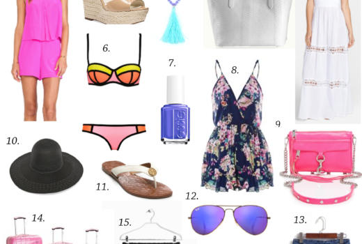 missyonmadison, shopping, shopping guide, online shopping, flip flops, tory burch, tory burch sandals, gigi ny, gigi ny tote, rebecca minkoff, rebecca minkoff mini mac bag, hot pink bag, hot pink mini mac bag, crochet shorts, denim shorts, white slip on sneakers, mirrored aviators, ray bans, white maxi dress, triangle swimwear, neon bikini, cover up, hot pink romper, romper, floral romper, choies romper, colorful comper, tan wedges, nude wedges, espadrille wedges, michael kors wedges, pink suitcase, black floppy hat, beach hat, what to wear to the beach, what to pack for vacation, los angeles, la, trip, travel guide, vacation guide,