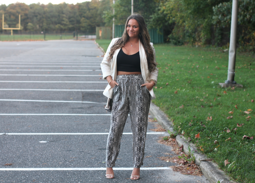 missyonmadison, melissa tierney, ootd, outfit inspo, spring, spring style, spring outfit inspo, joggers, printed joggers, how to wear joggers, street style, white blazer, long island, spring trends, spring trends 2015, wide leg printed pants, printed palazzo pants, palazzo pants, what to wear this spring, how to wear spring trends,