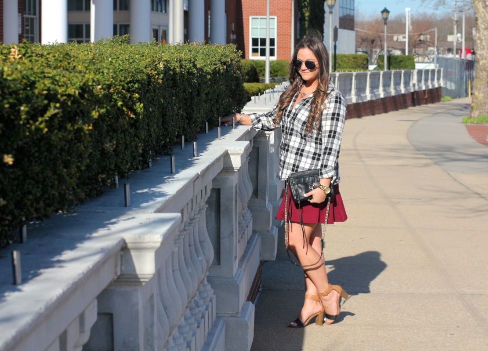 missyonmadison, melissa tierney, blog, blogger, fashion blog, fashion blogger, black aviators, aviators, spring trends, spring style, ootd, outfit inspo, what to wear this spring, skater skirts, maroon skater skirt, maroon skirt, how to style a skater skirt, plaid shirt, old navy, old navy plaid shirt, old navy flannel shirt, black and white flannel, how to wear the flannel trend, mini mac bag, mini mac, rebecca minkoff mini mac bag, rebecca minkoff, black ray bans, block sandals, tan block sandals, old navy block sandals,