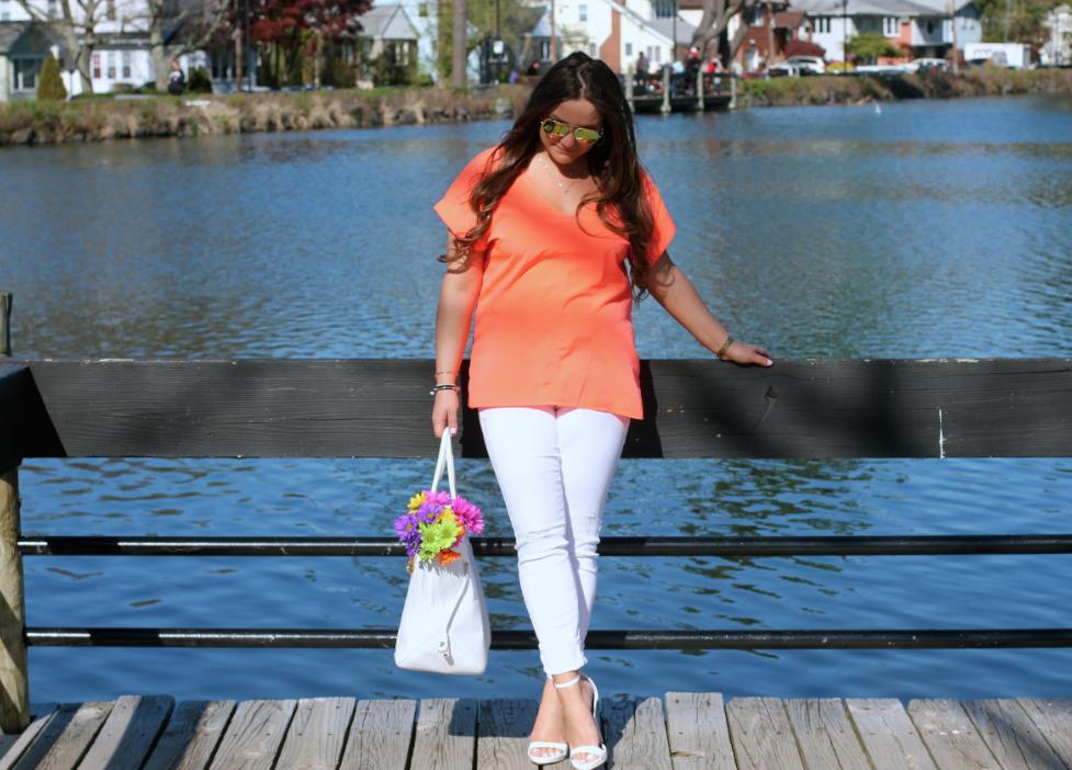 missyonmadison, melissa tierney, blog, blogger, fashion blog, fashion blogger, style blog, style blogger, spring, spring style, spring street style, henri bendel, henri bendel tote, white tote, poshmark, resale, white henri bendel tote, orange chiffon blouse, orange short sleeve top, white skinny jeans, white ankle strap heels, white ankle strap sandals, outfit inspo, spring outfit inspo, spring outfit inspiration, spring footwear, spring shoes,