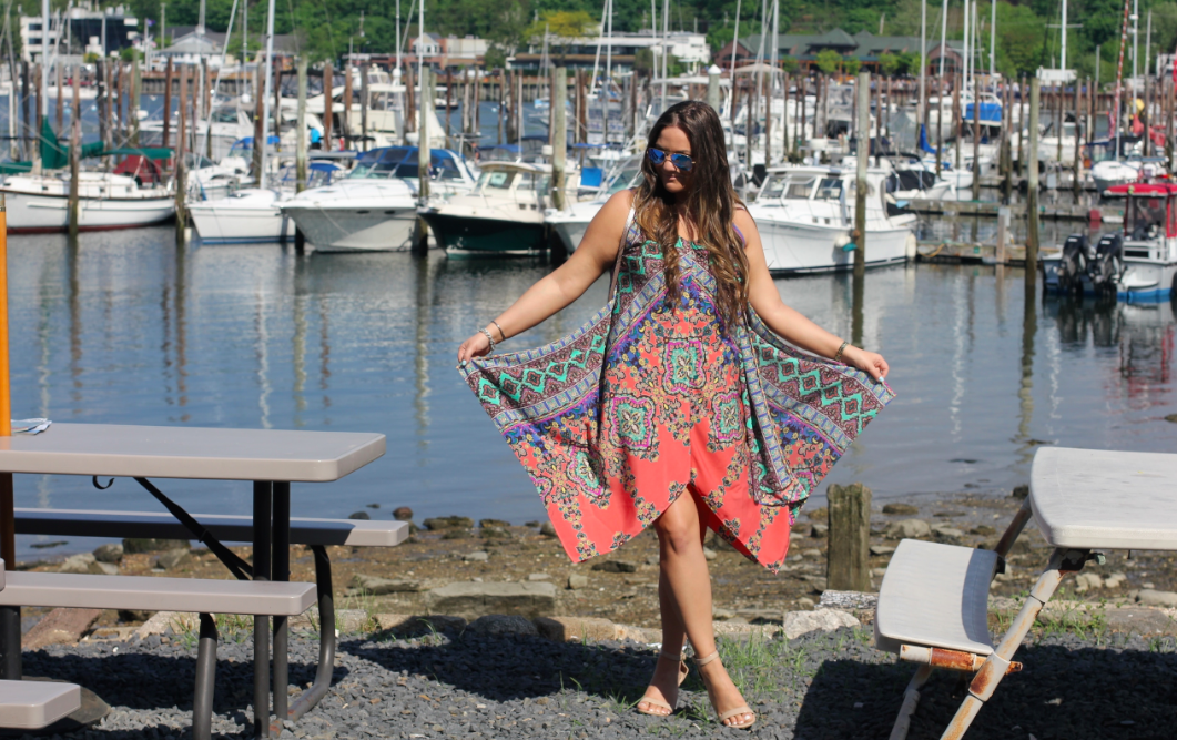 missyonmadison, melissa tierney, lord and taylor, design lab, design lab dress, tribal print, aztec dress, aztec print, handkerchief dress, trapeze dress, maxi dress, spring, spring outfit, spring style, ootd, long island, huntington harbor, marina, long island marina, rebecca minkoff, rebecca minkoff mini mab tote,t&j, x ring, gold rings, midi rings, nude ankle strap sandals, nude sandals, outfit inspo, outfit inspiration, what to wear this spring, spring trends,