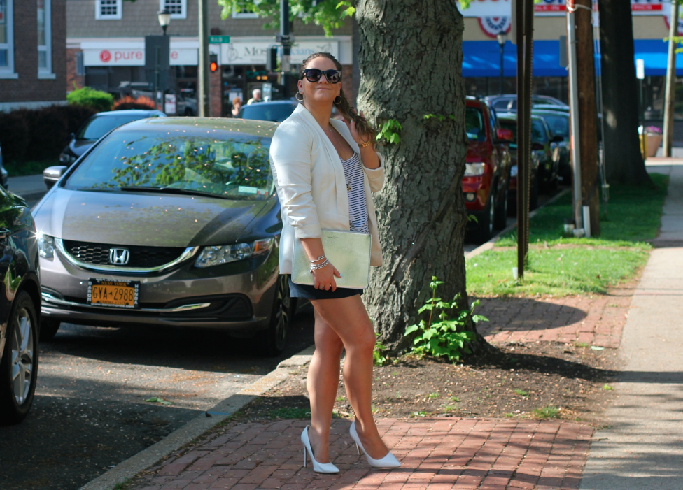 missyonmadison, melissa tierney, blog, blogger, fashion blog, fashion blogger, style, style blog, style blogger, street style, metallic clutch, silver clutch, white pointed toe pumps, white pumps, navy blue shorts, navy shorts, where to find white pumps, how to wear white pumps, white blazer, white boyfriend blazer, black sunglasses, j crew, j crew sunglasses, outfit inspo, inspiration, ootd, how to wear a white blazer,