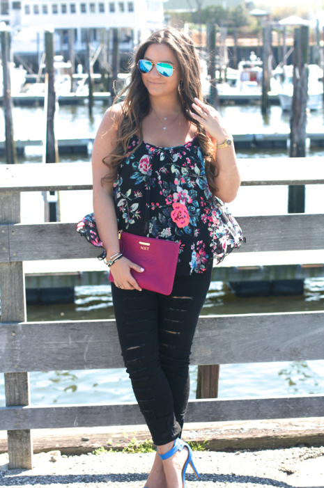 missyonmadison, melissa tierney, fashion, fashion blog, fashion blogger, style, street style, summer style, blog, blogger, ootd, outfit inspo, outfit inspiration, date night outfit, girls night out outfit, floral top, floral camisole, express, express top, express floral top, black floral top, black skinny jeans, black ripped skinny jeans, distressed skinny jeans, gigi ny, gigi ny bag, magenta gigi ny bag, magenta clutch, gigi ny clutch, denim jacket, old navy, old navy denim jacket, ray bans, blue ray bans, mirrored ray bans, mirrored aviators, blue ankle strap sandals, blue ankle strap heels, blue heels, ankle strap heels, huntington ny, long island new york, long island photography, photography,