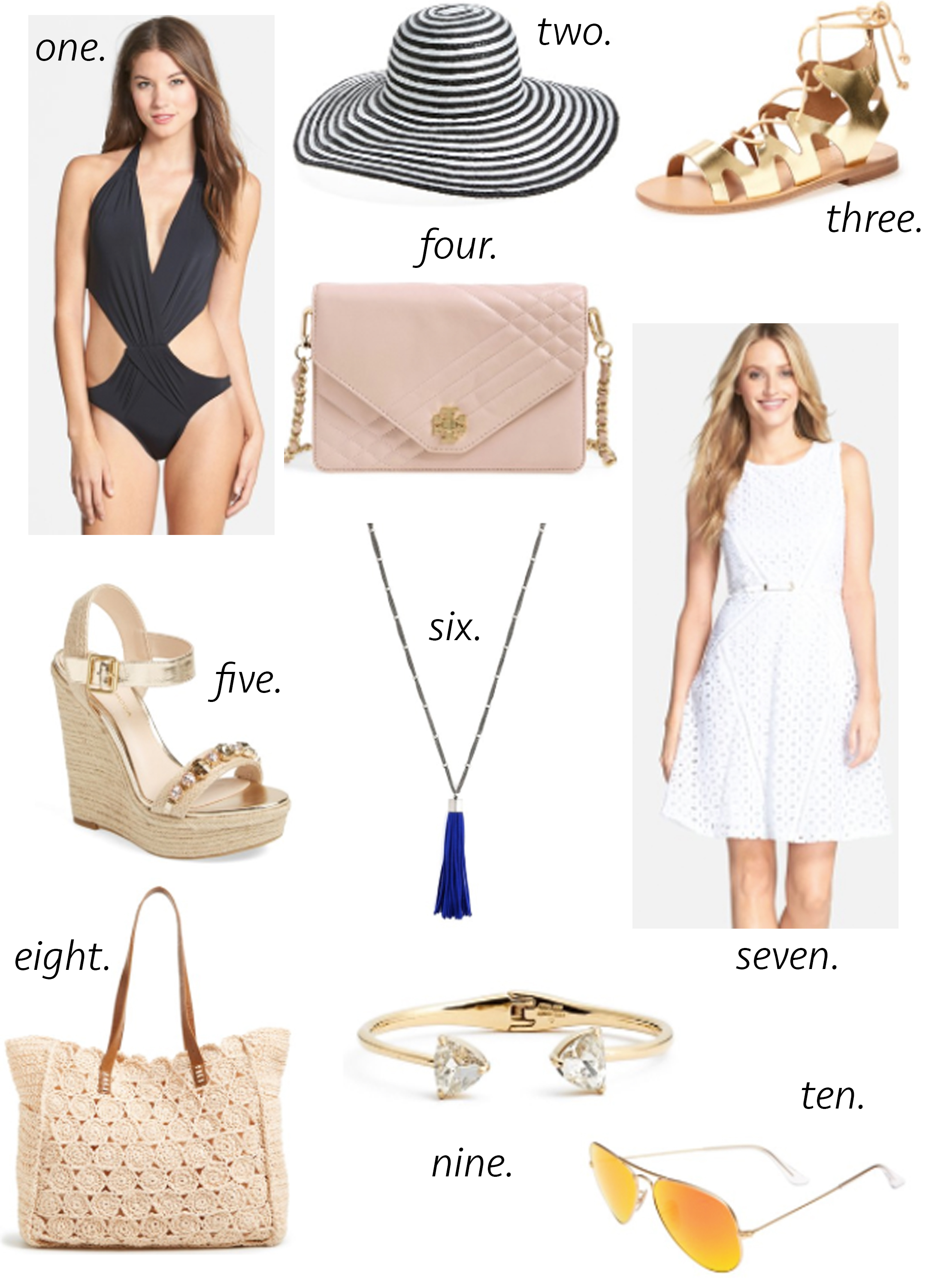 missyonmadison, packing guide, melissa tierney, san diego, del mar, race track, horse races, off to the races, what to wear to a horse race, what to wear in sandiego, california, la, travel, travel guide, white eyelet dress, tassel necklace, espadrille wedges, ray ban aviators, gladiator sandals, black bathing suit, sexy one piece, kate spade bangle, beach tote, floppy hat, striped floppy hat, straw tote, summer style, tory burch, tory burch cross body bag,