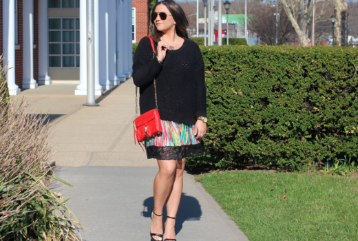 missyonmadison, melissa tierney, prabal gurung, prabal gurung for target skirt, prabal gurung for taget multicolor skirt, black sweater, black ankle strap sandals, black ankle strap heels, red crossbody, red rebecca minkoff mini mac bag, mini mac bag, mini mac, rebecca minkoff, la blogger, long island, multicolor skirt, colorful a line skirt, red pleated a line skirt, black round neck sweater, black nasty gal sweater, michael antonio heels, summer style, summer shoes, shoe trends, trends, style, fashion blogger, red ray bans, red aviators, street style, outfit inspo, sweater weather, summer sweaters,