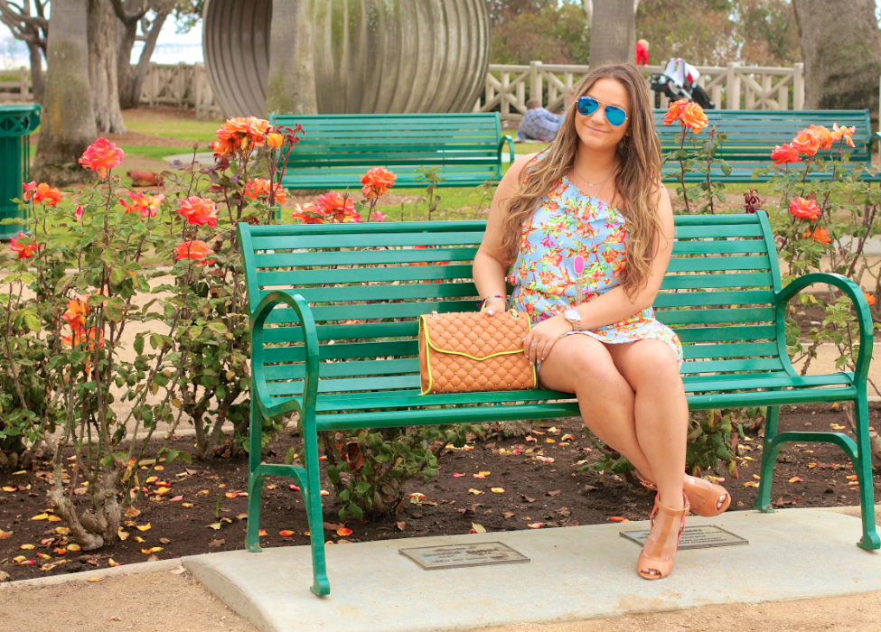 missyonmadison, melissa tierney, fashion blog, fashion blogger, shabby apple, shabby apple dress, ray bans, blue aviators, flowers, santa monica, la, los angeles, rebecca minkoff bag, carolinna espinosa, heels, summer heels, summer style, rebecca minkoff affair bag,  floral dress,, santa monica rose garden, tassel bracelets, coral heels,brunette hair, fashionista, ootd, outfit inspo, outfit inspiration,