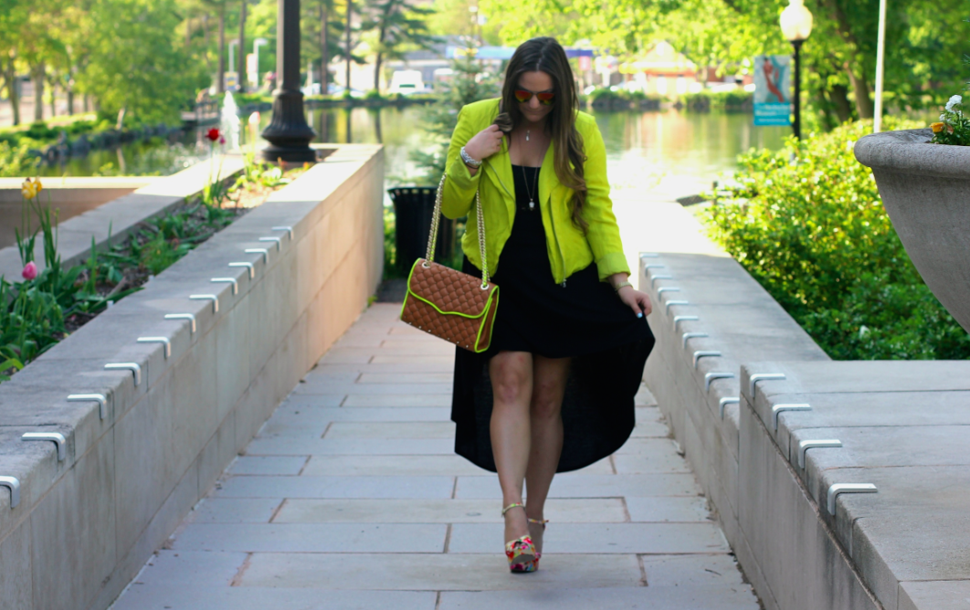 missyonmadison, melissa tierney, fashion blog, fashion blogger, summer style, summer, rebecca minkoff affair bag, tan quilted bag, rebecca minkoff quilted bag, ray bans, red mirrored aviators, red ray bans, nina shoes, nina sunny sandal, karen kane, lime green moto jacket, neon green moto jacket, neon moto jacket, black high low dress, black summer dress, la blogger, ny blogger, photography, karen kane moto jacket, brunette hair, summer hair style, how to wear neon, how to wear a high low dress, how to style a high low dress,