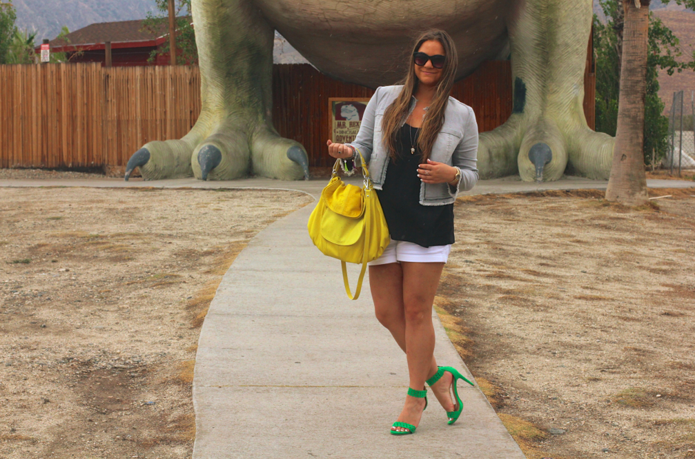 missyonmadison, melissa tierney, palm springs, dinosaurs, cabazon dinosaurs, cabazon, hayden harnett, yellow bag, havana hobo, max jeans, max jeans cropped jacket, cropped denim jacket, green justfab heels, justfab, green ankle strap heels, green ankle strap sandals, black sunglasses, white shorts, black chiffon camisole, outfit inspiration, la blogger, blogger, fashion blogger, street style, how to wear color, how to wear summer trends, summer style,