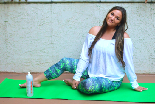 missyonmadison, rbx active, rbx leggings, yoga, green yoga mat, melissa tierney, brita, brita sport bottle, white drapped crossover top, fabletics, fabletics white top, black sports bra, yoga poses, yogi, yoga style, what to wear for yoga, how to dress for yoga, yoga gear, hot yoga, outdoor yoga,