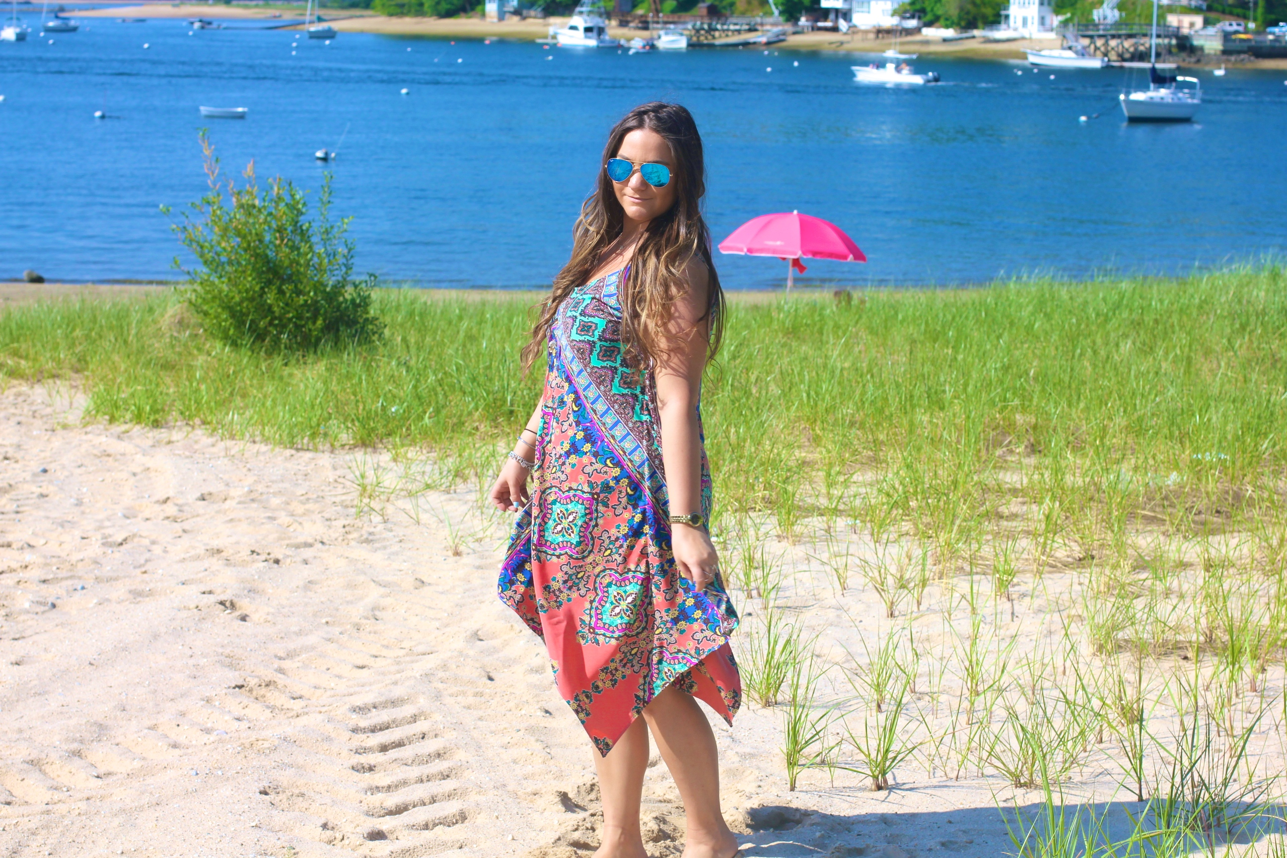 missyonmadison, melissa tierney, fashion blogger, ideel, handkerchief dress, printed handkerchief dress, ideel handkerchief dress, summer style, long island, beach, beach day, what to wear to the beach, blue ray bans, mirrored aviators, blue mirrored sunglasses, tory burch, tory burch thora thong, thora sandals, tory sandals, huntington, long island beaches,