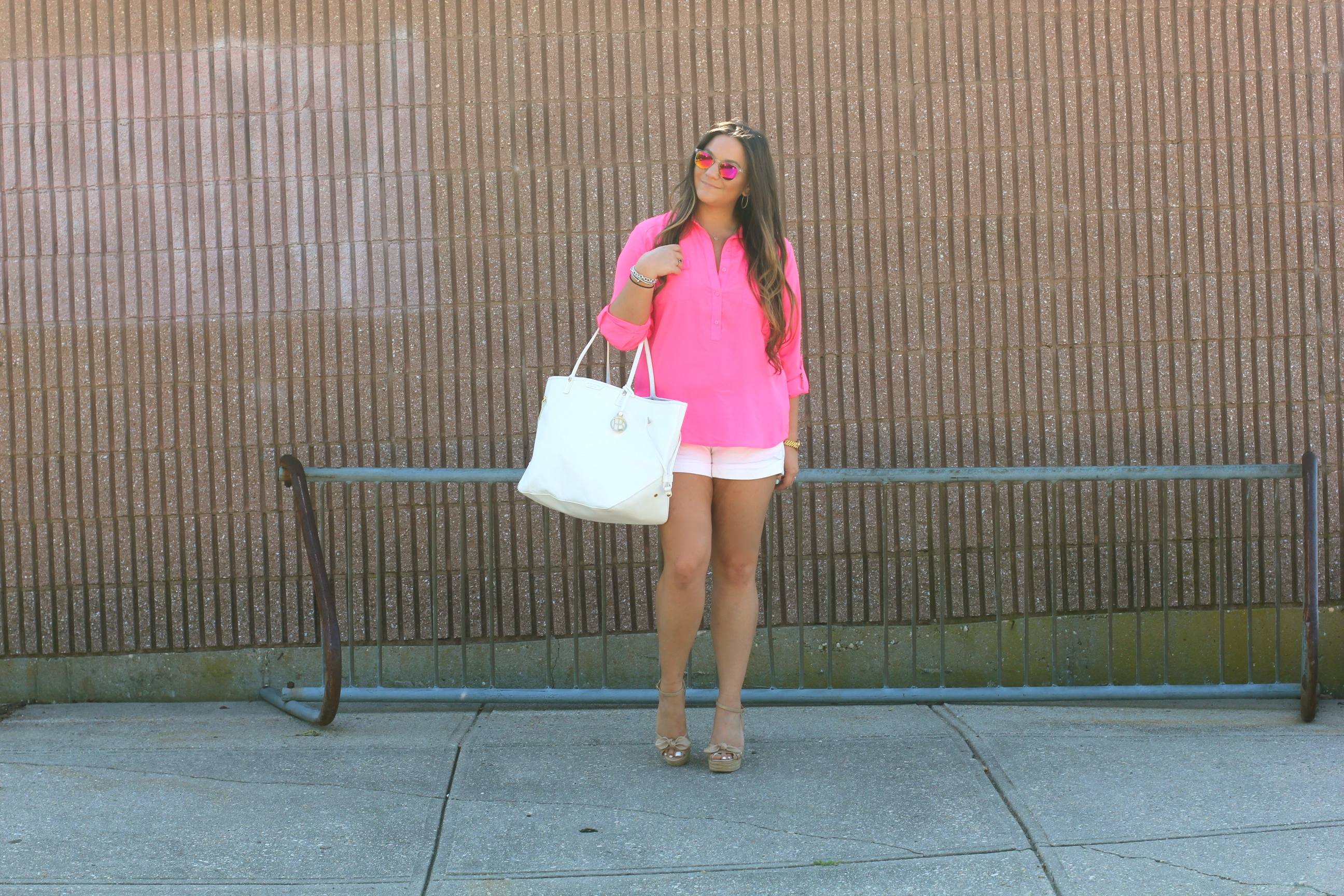 espadrille wedges, missyonmadison, melissa tierney, nude espadrille wedges, long island, long island beaches, hot pink button down blouse, pink blouse, poshmakr, white henri bendel tote, white leather tote, clear mirrored sunglasses, mirrored sunglasses, white cotton shorts, fashion blogger, summer style, outfit inspiration, how to wear neon,