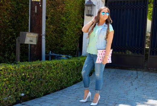 missyonmadison, melissa tierney, redbubble, candy clutch, redbubble clutch, mint scallop top, scallop blouse, mint green blouse, target style, target jeans, distresses skinny jeans, skinny jeans, blue ray bans, mirrored aviators, denim vest, old navy denim vest, white pointed pumps, white pumps, pointed toe pumps, fall style, fall trends, outfit inspo, how to wear white pumps, outfit inspiration,