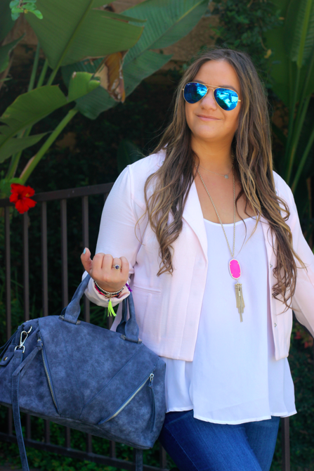 missyonmadison, melissa tierney, target, target style, target denim, target jeans, violet ray satchel, denim satchel, navy satchel, blue ray bans, lauren conrad moto jacket, blue aviators, white chiffon camisole, apt 9 camisole, carolinna espinosa allentown sandal, carolinna espinosa, kendra scott, kendra scott rayne necklace, pink kendra scott necklace, la, california, photography, skinny jeans for fall, fall style, caravelle ny watches, caravelle ny,