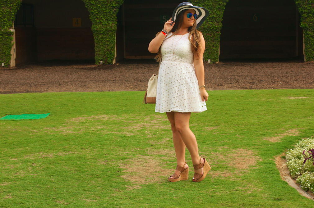 missyonmadison, melissa tierney, race day style, races, horse races, belmar track, belmar racing, san diego, vacation, girls trip, weekend getaway, travel blog, travel blogger, hallmark, signature style, hallmark cards, white eyelet dress, navy and white floppy hat, floppy hat, summer style, summer outfit inspo, ootd, how to wear a floppy hat, tory burch, tory burch perforated wedges, tory burch wedges, gucci, gucci soho bag, white gucci soho bag, ray bans, blue aviators, x ring, ny la bracelet, anne klein watch, gold watch,