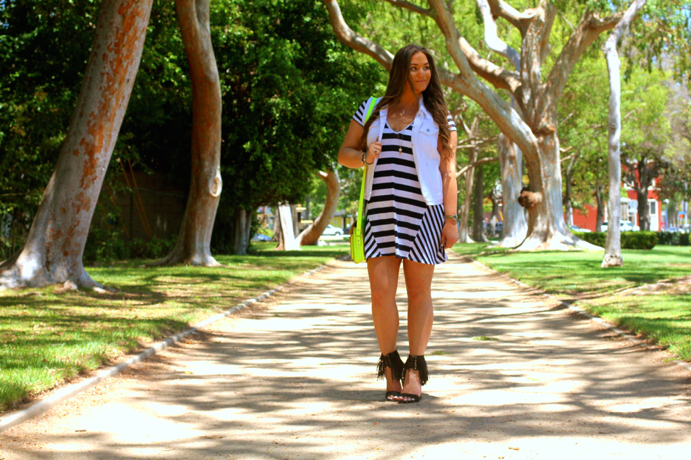 missyonmadison, melissa tierney, black and white striped dress, striped dress, lolly clothing, lolly clothing striped dress, fringe heels, just fab, just fab heels, just fab fringe heels, black fringe heels, fringe sandals, neon satchel, neon bag, cambridge satchel, neon cabridge satchel, poshmark, resale, designer sale, white denim vest, white vest, outfit inspo, beverly hills, photography, summer style, ootd, summer trends, fringe trend, how to wear stripes, how to wear fringe,