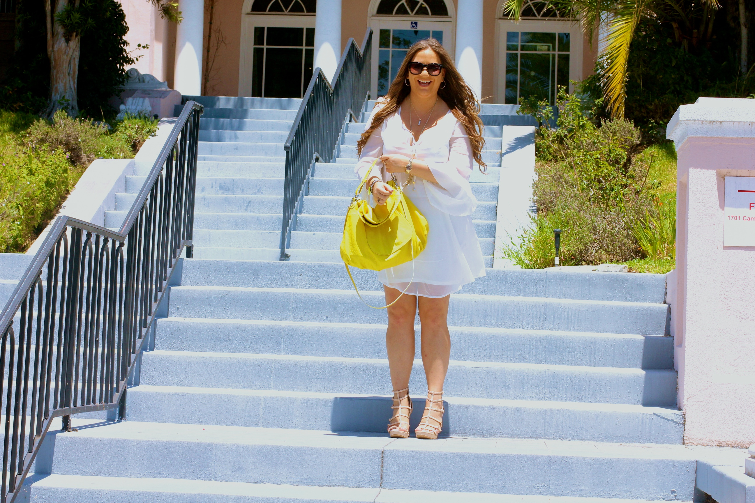 missyonmadison, melissa tierney, white chiffon dress, long sleeve white chiffon dress, white after labor day, hayden harnett, hayden harnett havana hobo 2.0, vince camuto gladiator sandals, gladiator sandals, vince camuto, yellow hobo, la blogger, fall style, how to wear white in fall, blog outtakes, silly moments,