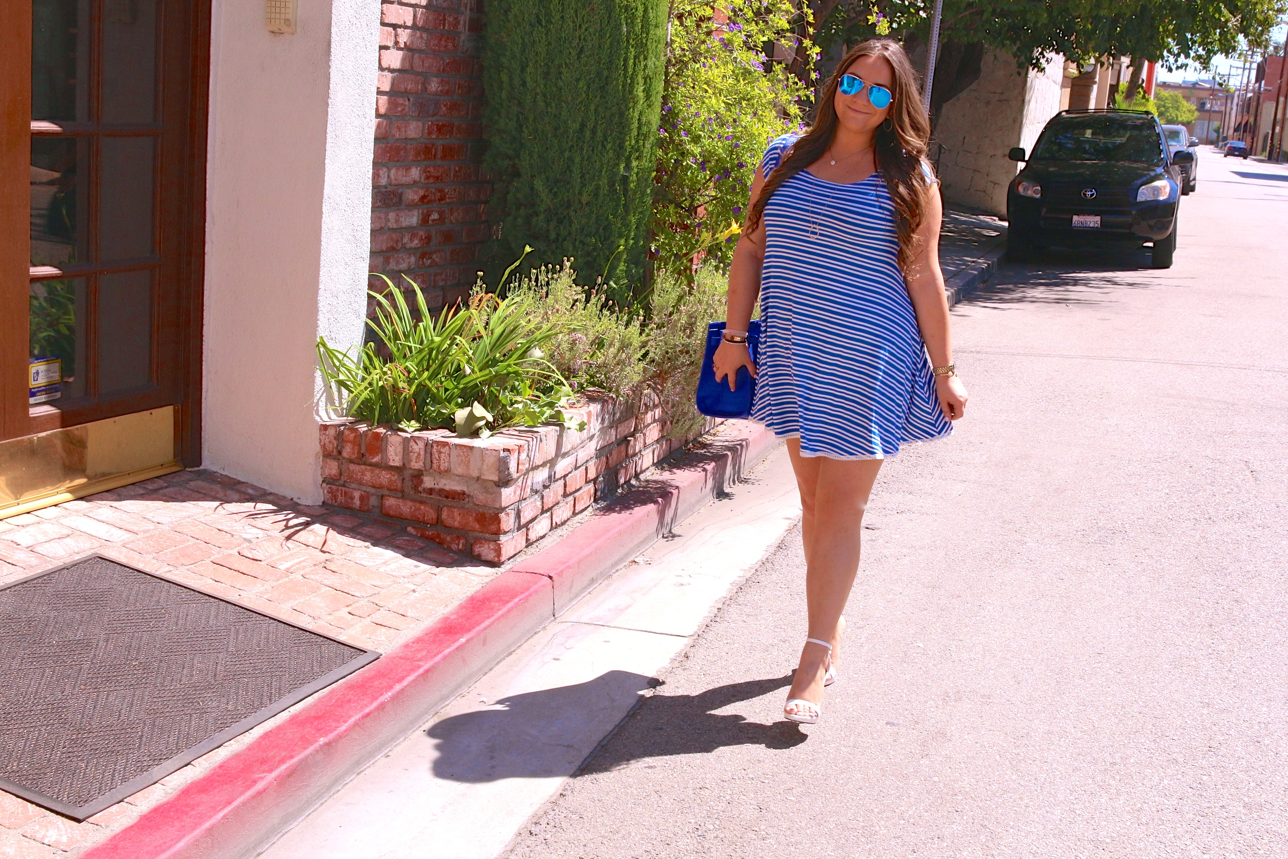 missyonmadison, melissa tierney, fashion blog, fashion blogger, blue satchel, kenneth cole satchel, kenneth cole blue satchel, cobalt blue satchel, white and blue striped dress, striped dress, ami clubwear, ami clubwear striped dress, ray bans, blue aviators, blue ray bans, white ankle strap heels, white ankle strap sandals, steve madden white heels, white ankle strap steve madden sandals, la blogger, fall fashion, how to wear color in the fall, pops of color,