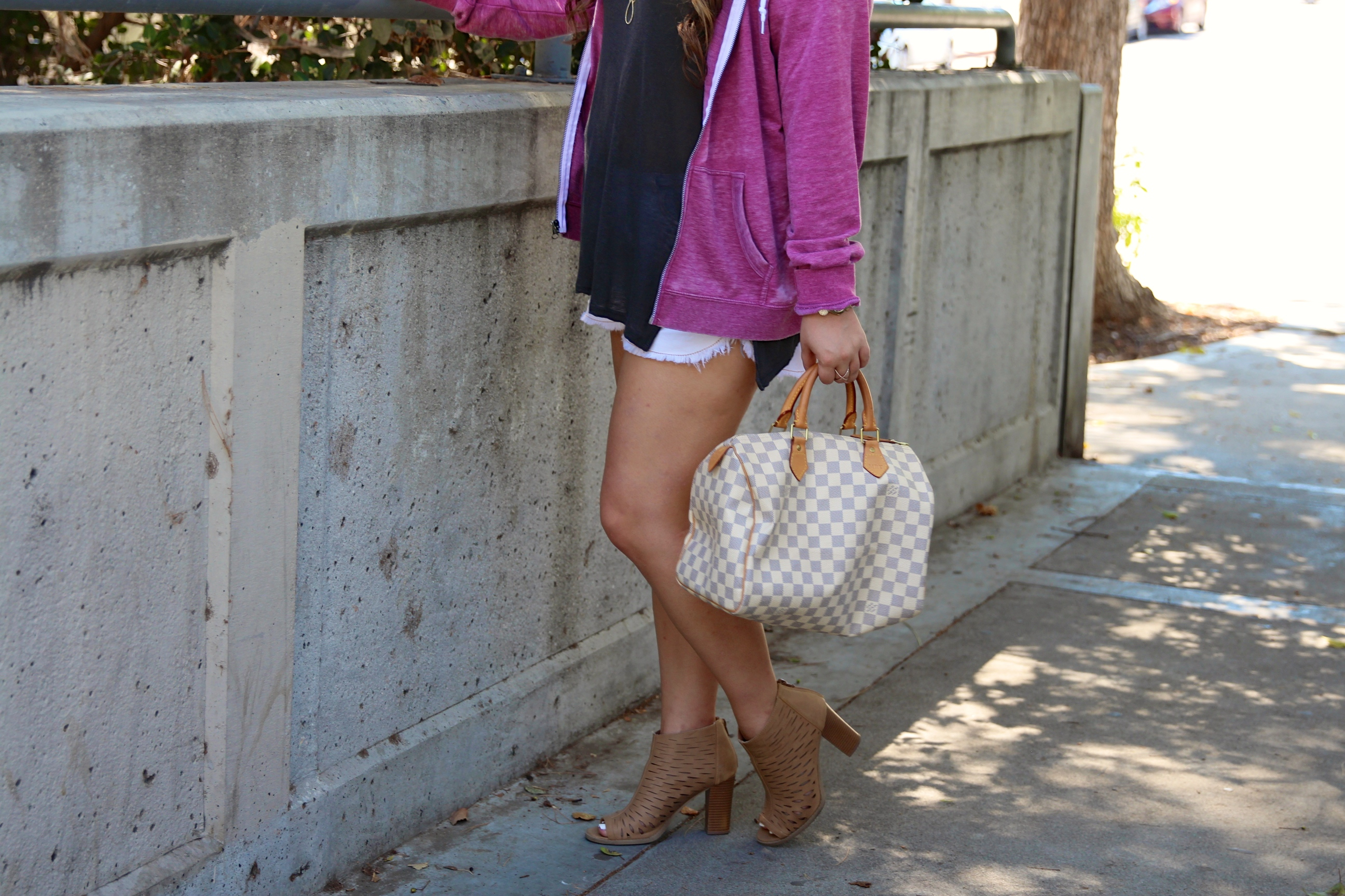 missyonmadison, melissa tierney, cotton hood, pink hoodie, pink zip up hoodie, discount codes, retail me not, laser cut booties, kohls, kohls booties, tan booties, tan peep toe booties, tan booties, gray vintage tee, urban outfitters tee, louis vuitton, louis vuitton speedy bag, ray bans, blue aviators, fall style, white denim shorts, white cut off shorts, fashion blogger, fall trends, casual wear, casual vibes, burn out hoodie,