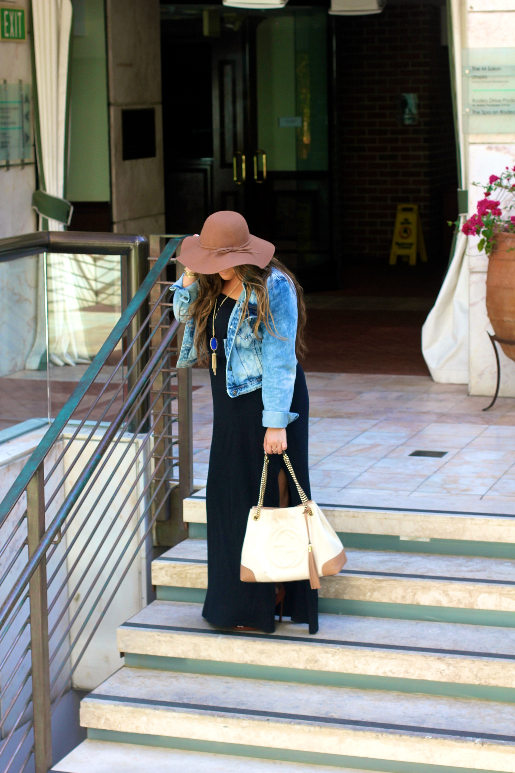 Black Maxi Dress, Acid Wash Denim Jacket, Denim Jacket, Brown Floppy Hat, Target Floppy Hat, Target Style, Gucci Soho Tote, Gucci Soho Bag, ShoeDazzle Booties, Tan Peep Toe Booties, Kendra Scott Rayne Necklace, Blue Kendra Scott Necklace, Blue Kendra Scott Rayne necklace, Threads 4 Thought Maxi Dress, Fall Maxi Dress, Fall Style, MissyOnMadison, Melissa Tierney, Fall Outfit Inspo, Fall Trends, Fall Style, Style Blogger, Street Style,