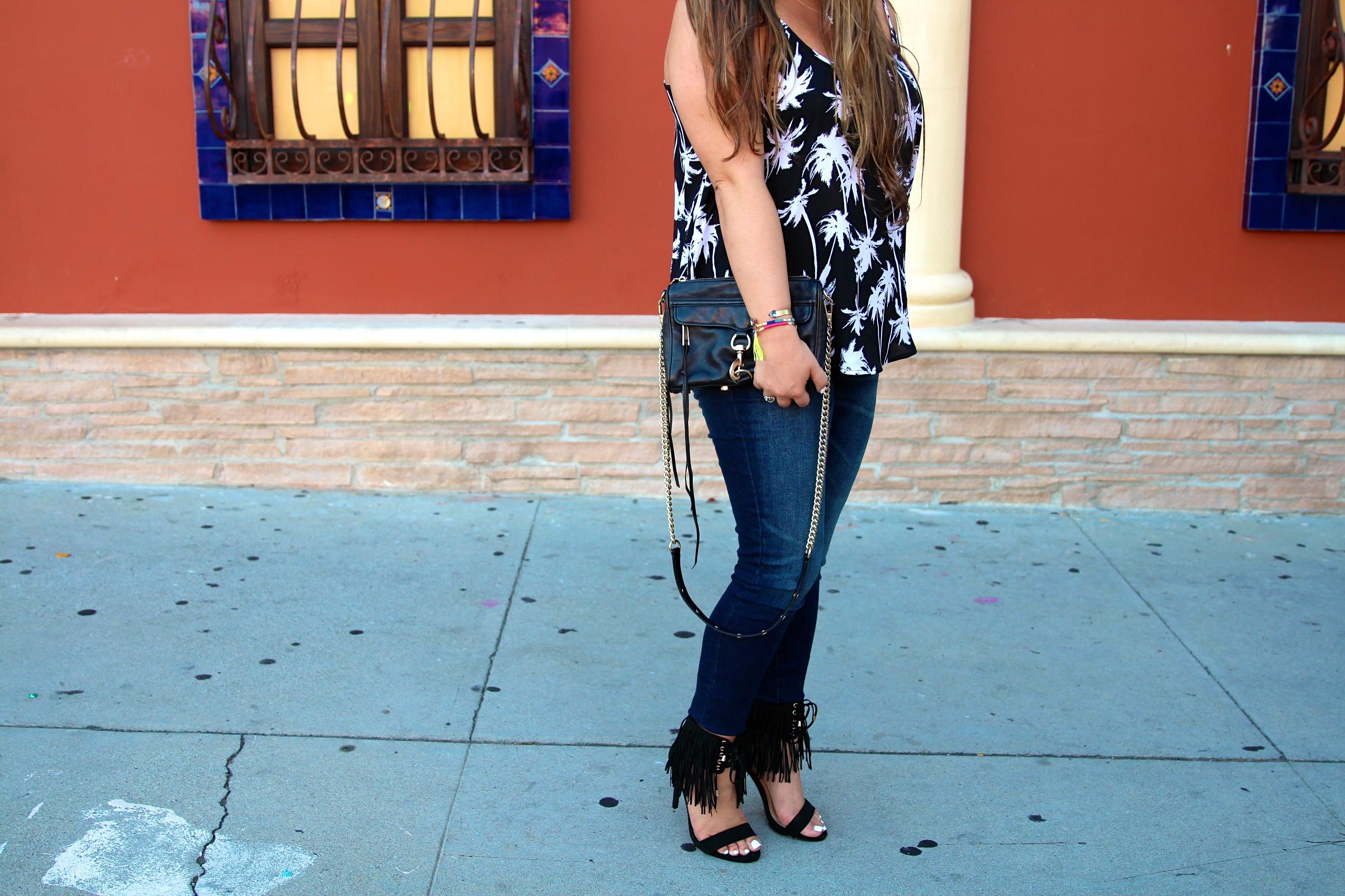 missyonmadison, melissa tierney, fashion blogger, fashion blog, rebecca minkoff, mini mac bag, rebecca minkoff mini mac bag, black fringe heels, just fab, just fab heels, fringe heels, black fringe sandals, target style, dark wash skinny jeans, fall style, fall jeans, palm tree top, palm trees, palm tree top, palm tree camisole, kohls, target denim,