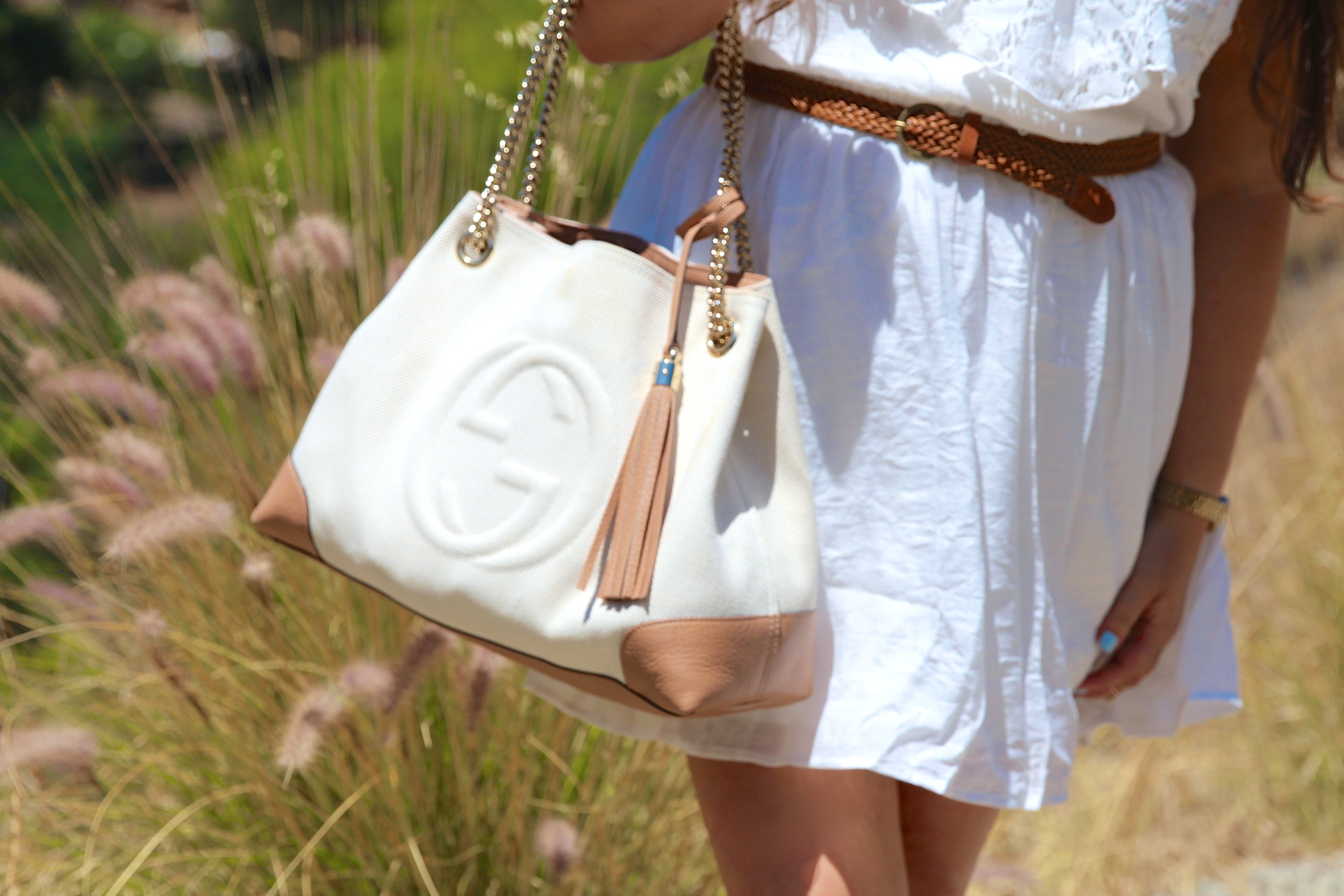 gucci soho tote, white gucci soho bag, gucci soho bag, fall handbags, missyonmadison, melissa tierney, white dress, little white dress, iz beyer, kohls, juniors dresses, little white dress, white after labor day, labor day weekend, fall fashion, back to school style, fashion blogger, white casual dress, la blogger, los angeles photography, fringe sandals, go jane, go jane sandals, black floppy hat, black sunglasses,