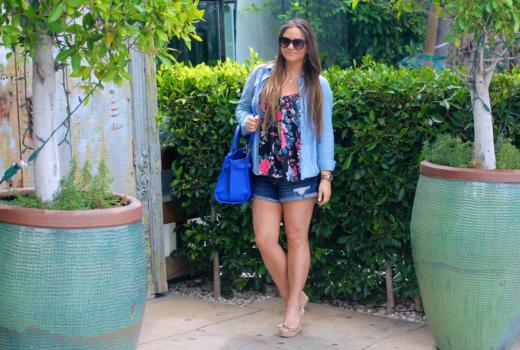 missyonmadison, melissa tierney, kenneth cole satchel, cobalt blue satchel, blue satchel, chambray button down, floral chiffon camisole, denim shorts, espadrille wedges, wayfarer sunglasses, la blogger, la roadtrip,