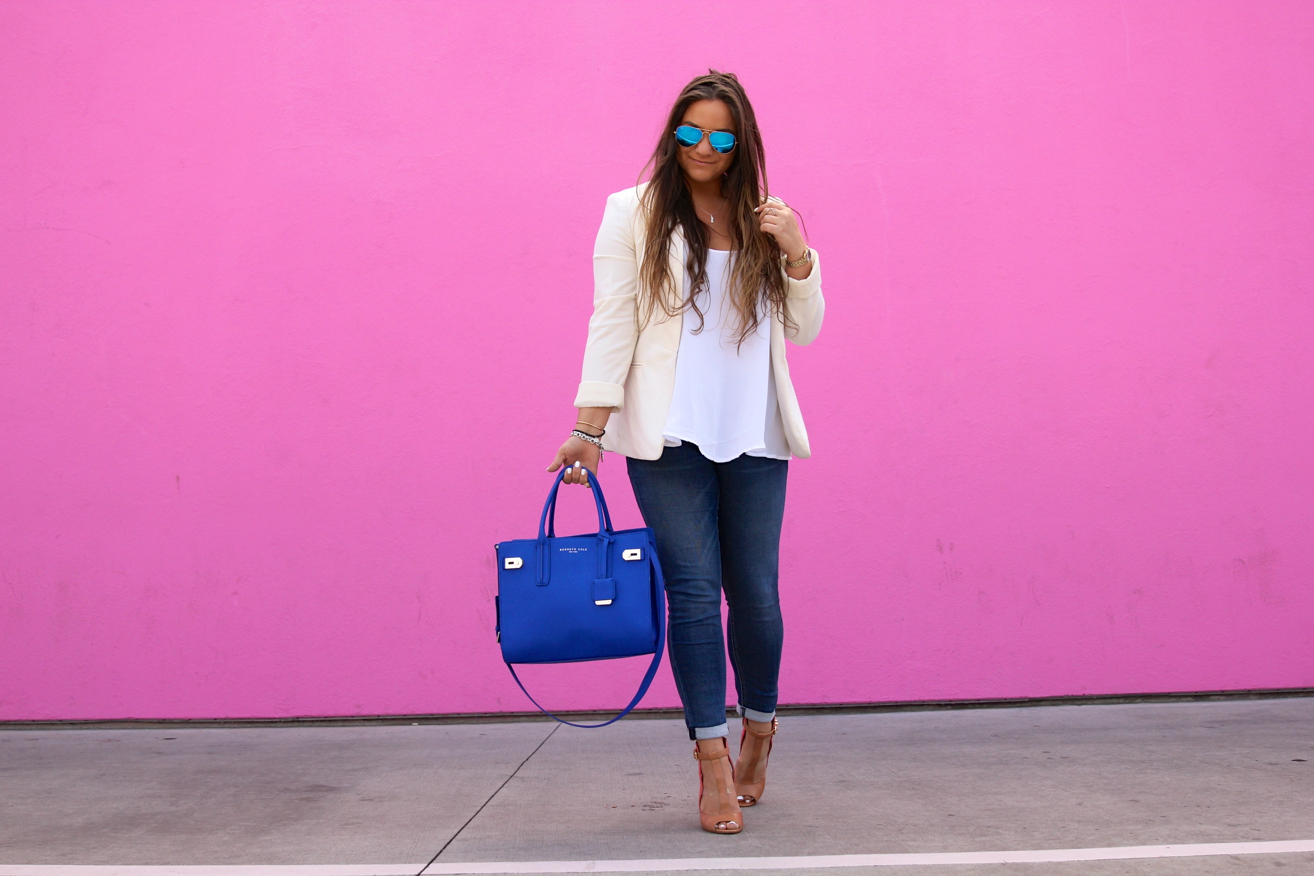 missyonmadison, melissa tierney, cobalt blue satchel, blue satchel, blue handbag, skinny jeans, lightwash skinny jeans, cuffed up skinny jeans, white chiffon camisole, white blazer, white boyfriend blazer, tan heeled sandals, ray bans, aviators, blue aviators, la blogger, fashion blogger, style blogger, style blog, street style, fall style, los angeles, pink wall,