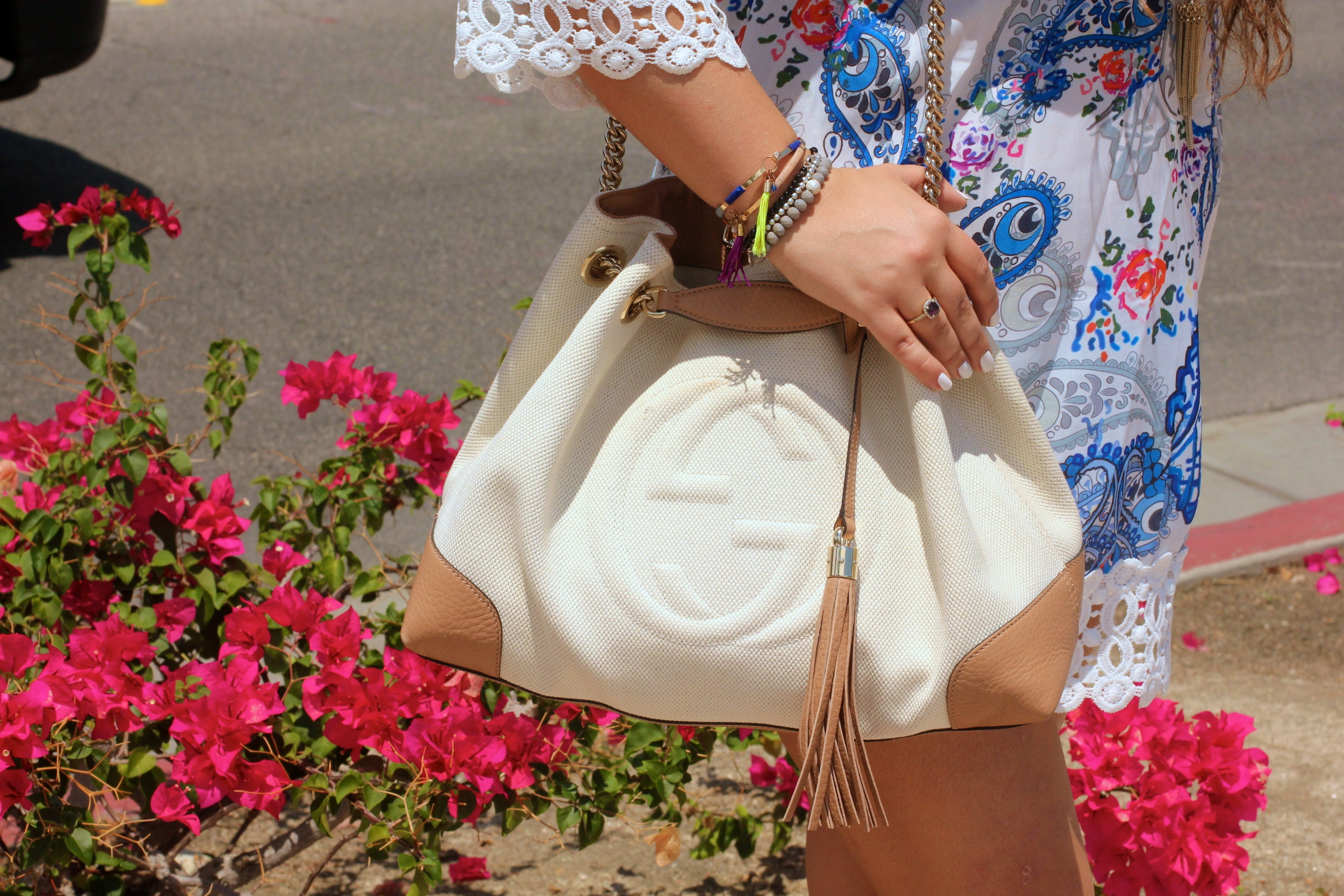 missyonmadison, melissa tierney, fashion blogger, palm springs, choies, paisley dress, gucci bag, gucci, gucci soho tote, espadrille wedges, nude espadrille wedges, ray bans, blue aviators, kendra scott necklace, la blogger blogger, tbt, style blogger,