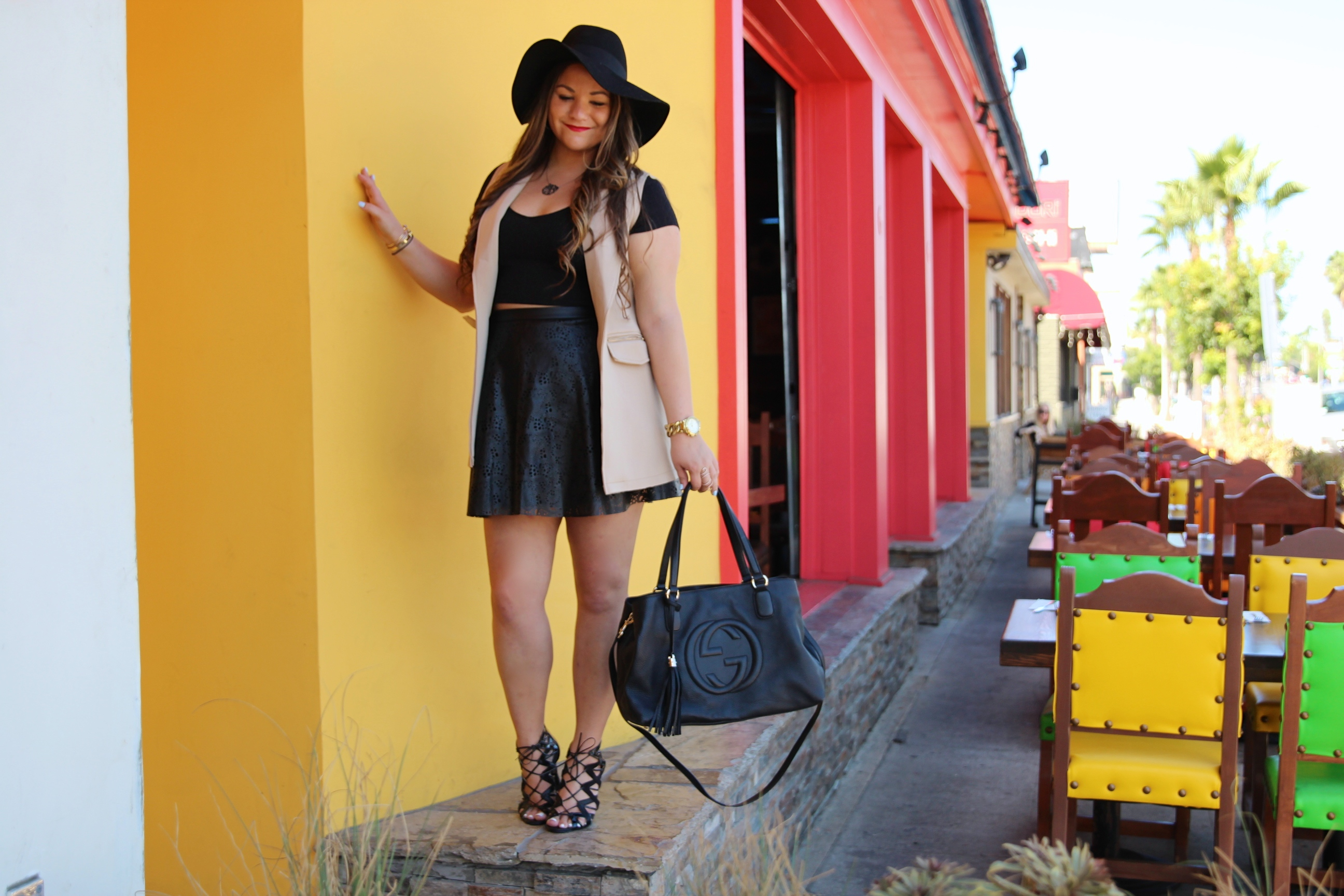 missyonmadison, melissa tierney, go jane, sleeveless vest, black lace up heels, lace up heels, black skirt, black perforated skirt, black crop top, black floppy hat, fall style, fall fashion, ootd, outfit inspo, black gucci bag, gucci soho bag, black gucci soho tote,
