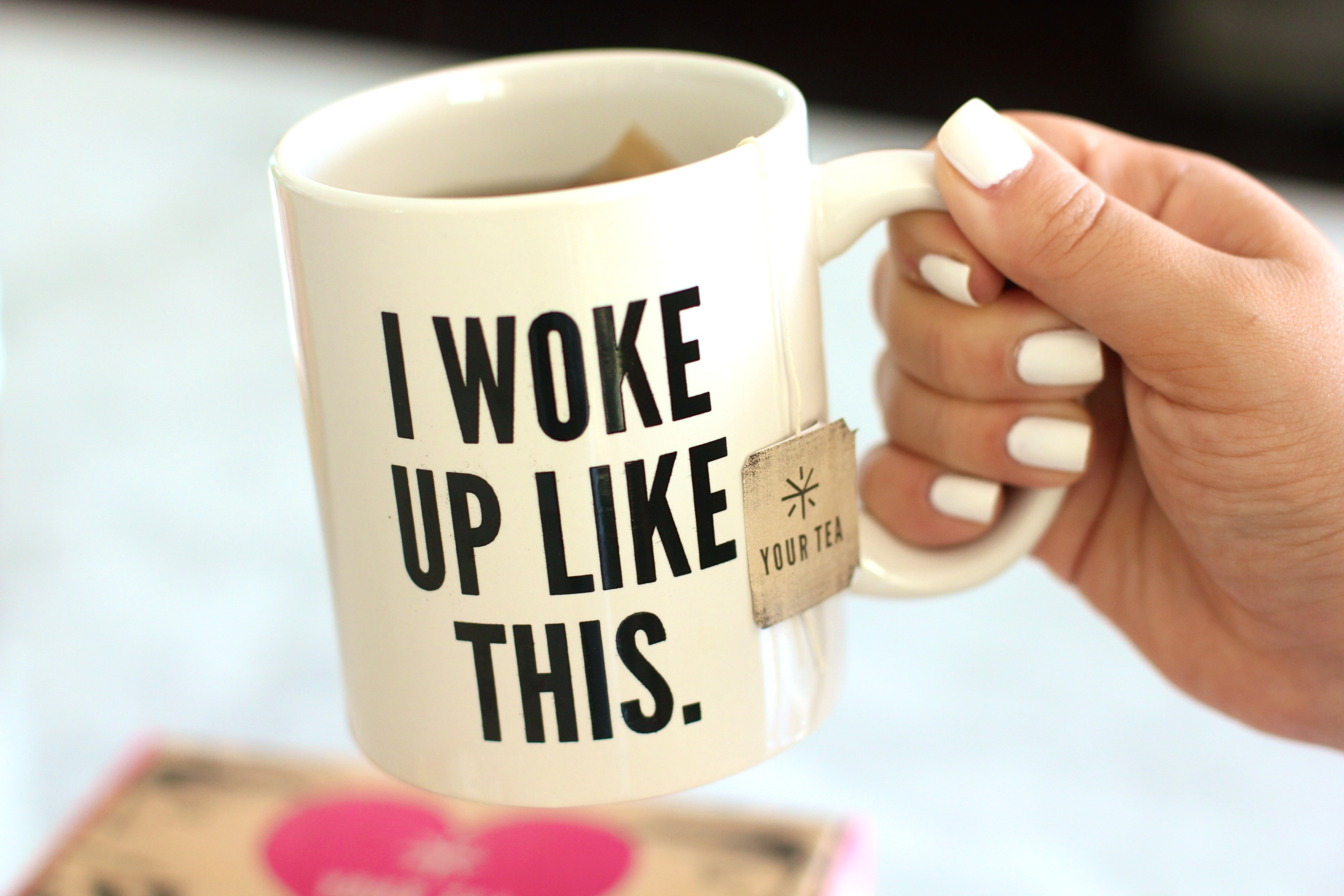 missyonmadison, melissa tierney, fashion blogger, tiny tea tox, your tea, kohls, target skinny jeans, skinny jeans, distressed skinny jeans, ray bans, urban outfitters, tea, mug, quote mugs, i woke up like this mug, vera bradley napkins, brunette hair,