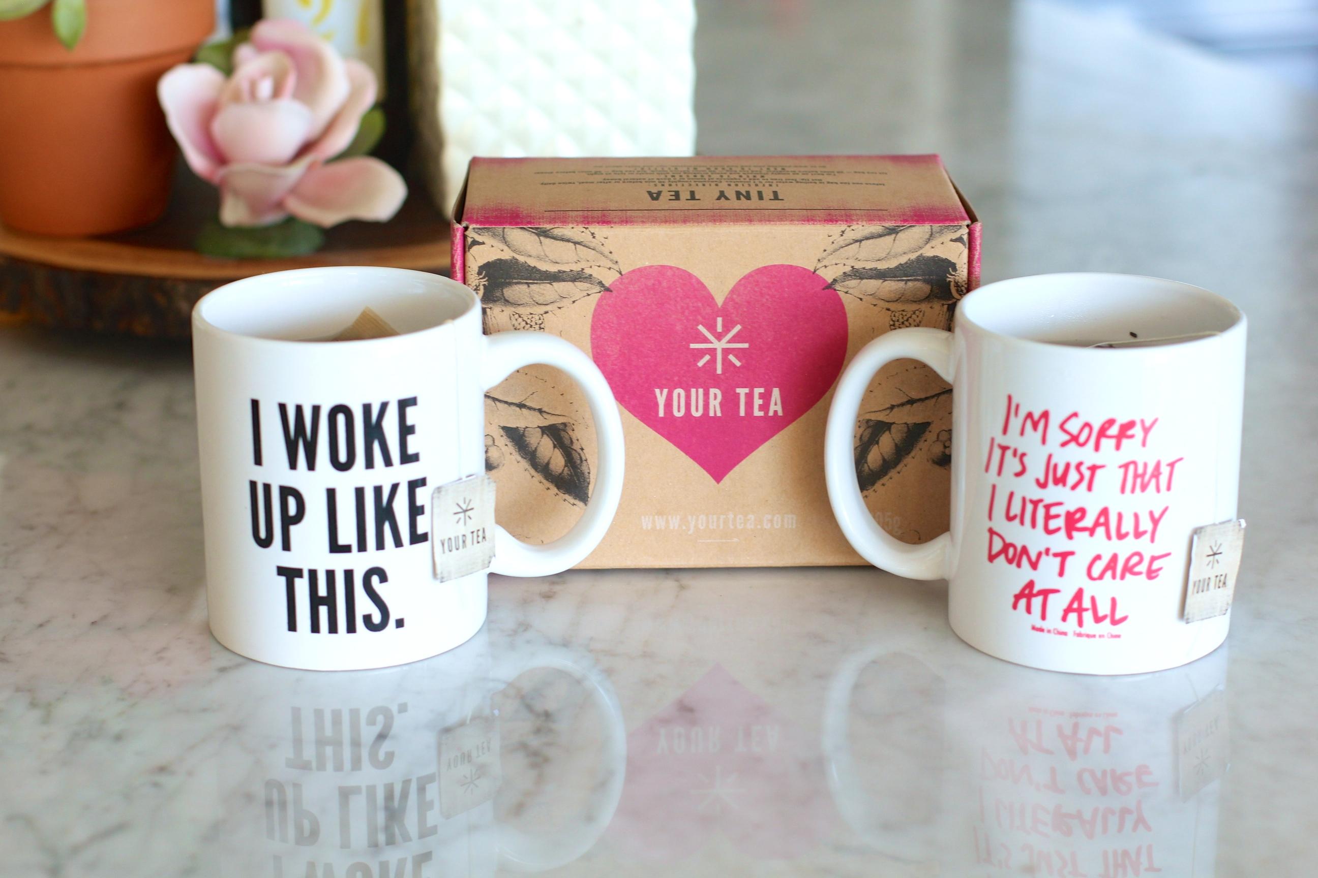 missyonmadison, melissa tierney, fashion blogger, tiny tea tox, your tea, kohls, target skinny jeans, skinny jeans, distressed skinny jeans, ray bans, urban outfitters, tea, mug, quote mugs, i woke up like this mug, vera bradley napkins, brunette hair,
