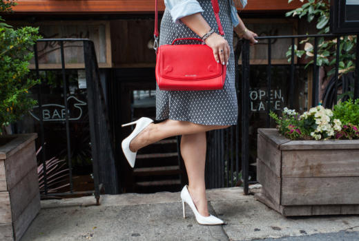 missyonmadison, melissa tierney, midi skirt, how to style a midi skirt, chambray shirt, how to wear a chambray shirt, meatpacking, shabby apple, shabby apple skirt, white pumps, cici hot, miss locker bags, red handbag, printed midi skirt, nyc, flashback friday,