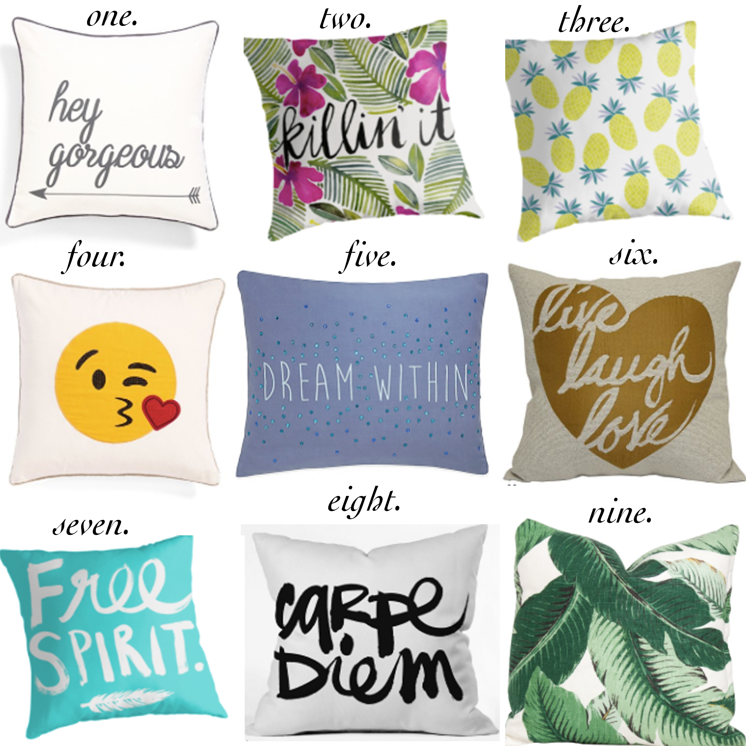 missyonmadison, melissa tierney, throw pillows, interior design, interior inspo, decorative pillows, under the canopy, redbubble, quote pillows, quote decor, shopping guide, gift guide, free spirit, carpe diem, palm print pillow, emoji pillow, emojis,