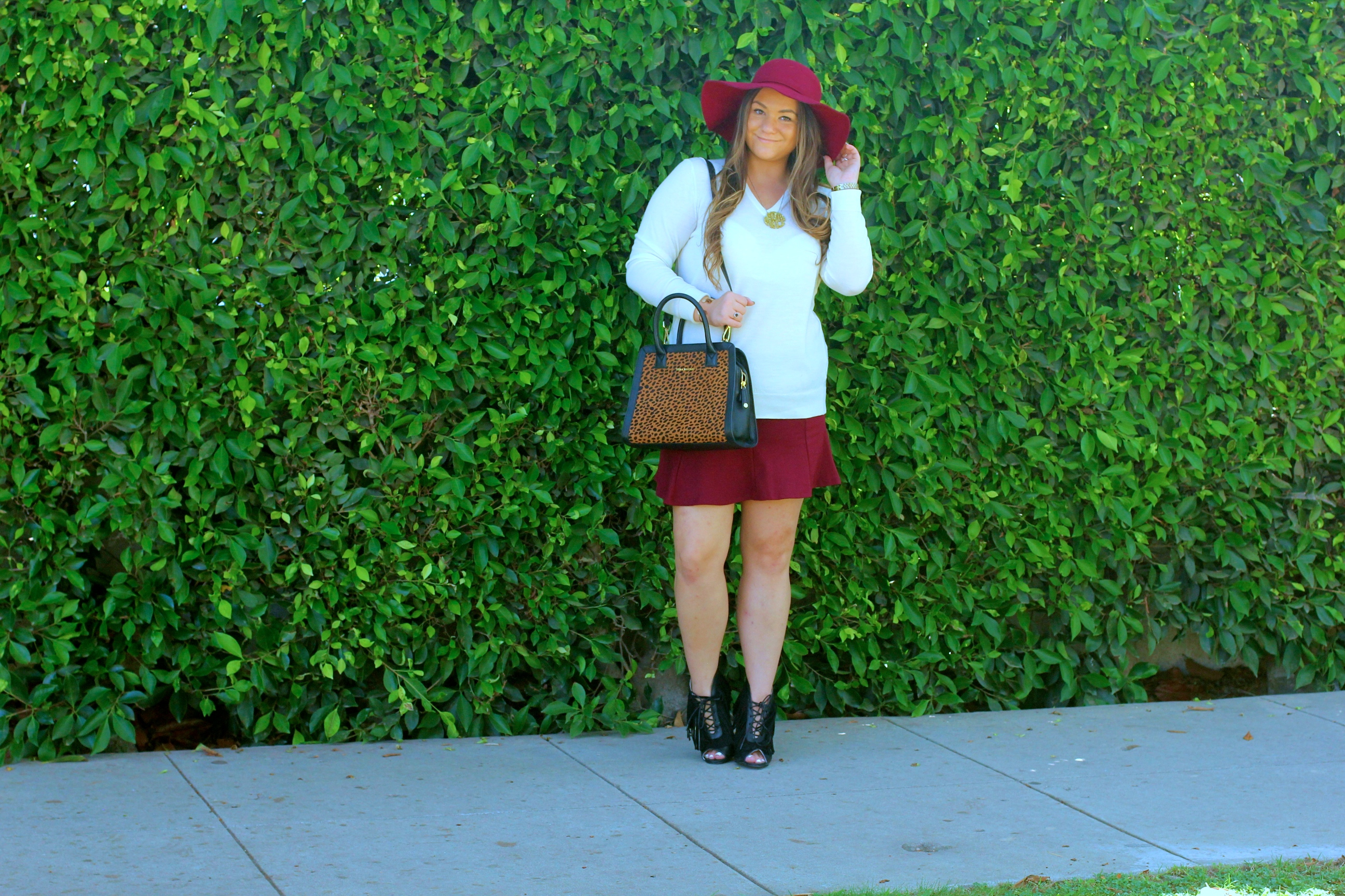 missyonmadison, melissa tierney, maroon skirt, maroon skater skirt, uniqlo, uniqlo sweater, white sweater, nyla booties, black peep toe booties, nyla peep toe booties, vera bradley, leopard satchel, leopard handbag, vera bradley leopard satchel, baublebar necklace, monogram necklace, maroon floppy hat, thanksgiving style, fall style, fall fashion,