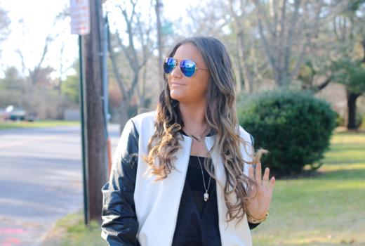 missyonmadison, melissa tierney, black and white bomber jacket, gigi ny, magenta gigi ny clutch, gigi ny clutch, black leather leggings, vegan leather leggings, hue leatherette leggings, hue leggings, ray bans, mirrored aviators, black ankle strap heels, black ankle strap sandals, brunette hair, fall style, outfit inspo, street style, how to wear leather leggings, how to style a bomber jacket, how to style leather leggings, fall outfit inspiration,