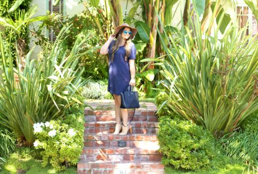 missyonmadison, melissa tierney, fashion blog, fashion blogger, style blogger, style blog, fall style, tan floppy hat, monogram necklace, baublebar necklace, go jane, nude peep toe booties, nude booties, navy shirt dress, under the canopy, ray bans, mirrored aviators, la blogger, navy blue satchel, lacoste satchel,