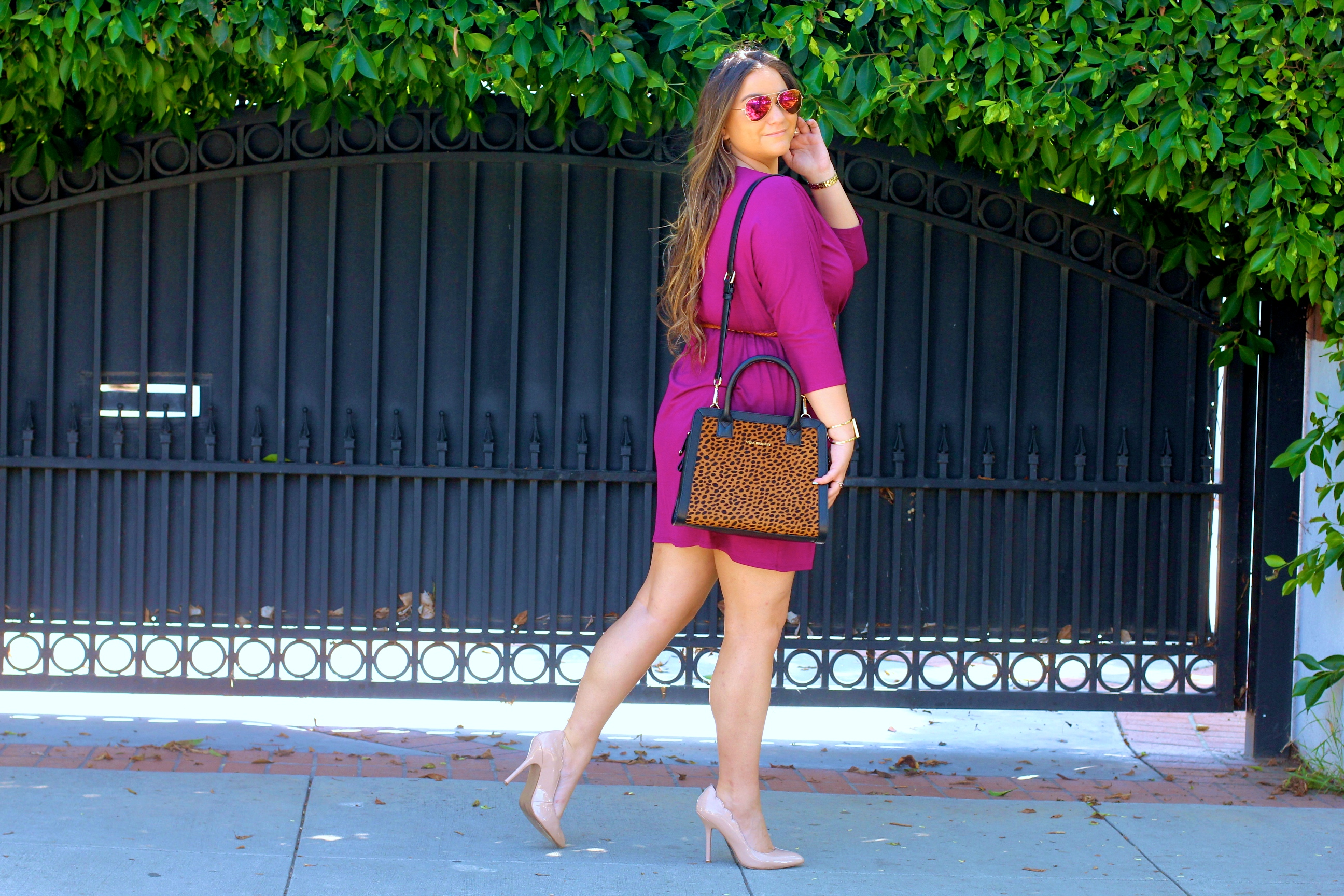 missyonmadison, melissa tierney, fashion blog, fashion blogger, style blog, style blogger, shoot the moon la, violet wrap dress, plum wrap dress, vera bradley, vera bradley leopard satchel, leopard satchel, nude pumps, nude pointed toe pumps, dsw, mirrored aviators, red aviators, baublebar monogram necklace, wrap dress, long sleeve wrap dress, holiday style, what to wear for the holidays, how to dress for work, la blogger, violet wrap dress,