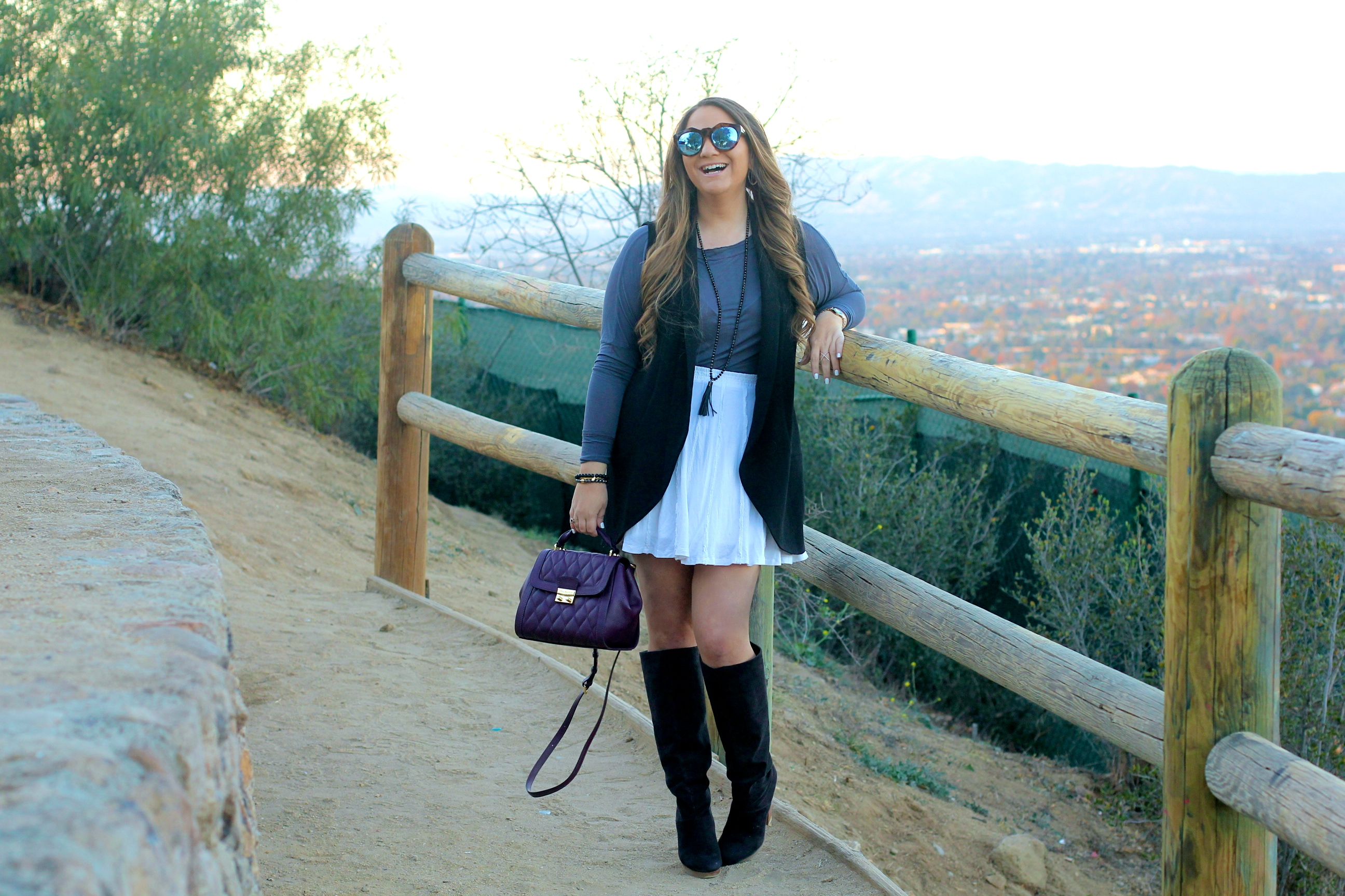 missyonmadison, melissa tierney, white skater skirt, white skirt, sea of pearls, sea of pearls tee, gray long sleeve tee, black sleeveless blazer, lush blazer, nordstrom rack, black over the knee boots, black suede heeled boots, vera bradley, vera bradley purple satchel, purple satchel, le specs sunnies, sunglasses shop, le spec tortoise sunglasses, marrin costello, black beaded tassel necklace, black beaded bracelet, brunette hair, winter style, la blogger, la style, long sleeve tee, sleeveless vest, hollywood hills, fashion blogger,
