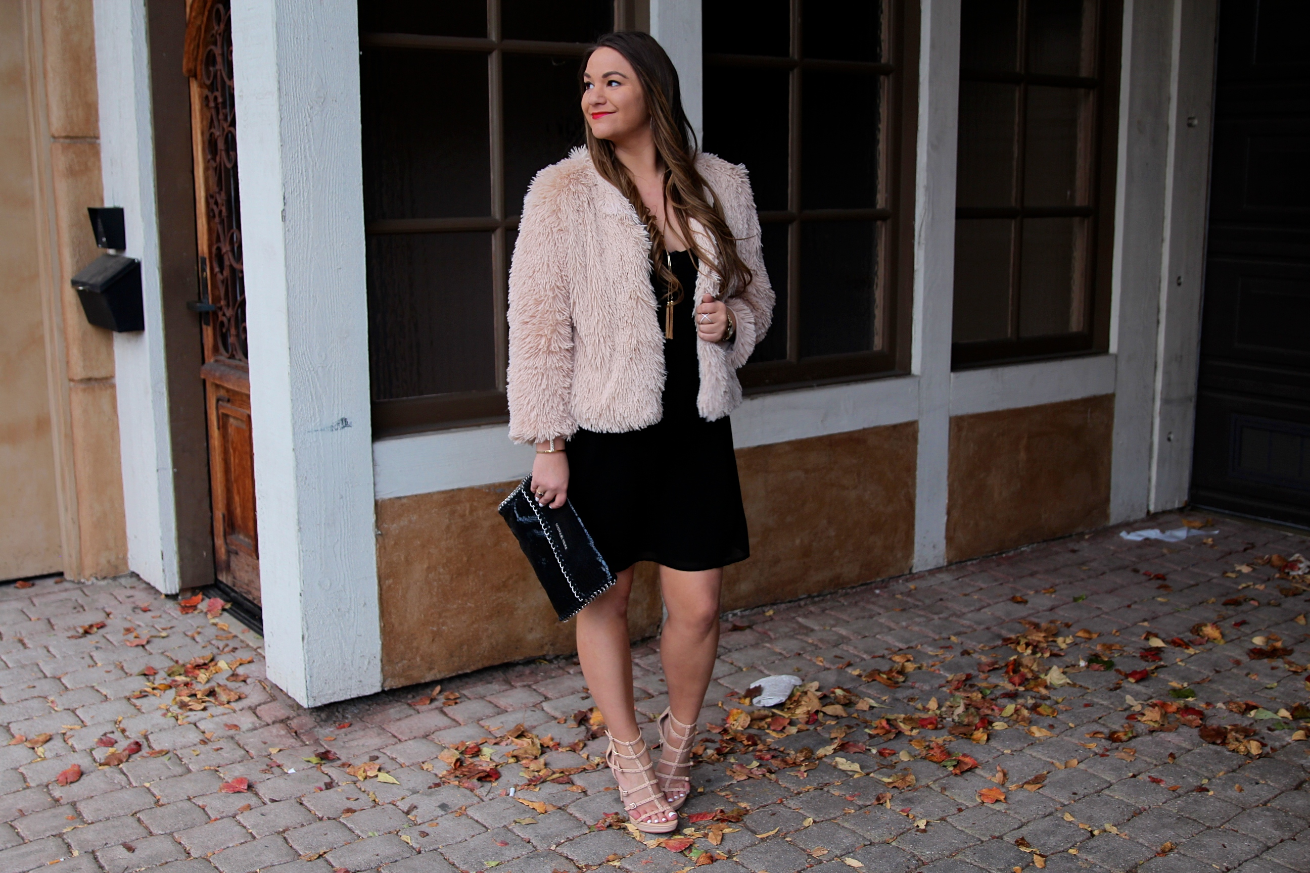 missyonmadison, melissa tierney, wayf black dress, wayf dress, nye style, nye 2016, what to wear for nye, new years eve style, nye glam, black spaghetti strap dress, black chiffon dress, pink shaggy coat, blush shaggy coat, pink faux fur coat, blush faux fur coat, vince camuto heels, vince camuto gladiator heels, elizabeth arden lipstick, nye beauty, red lipstick, michael kors clutch, black snakeskin clutch, michael kors black snakeskin clutch, gold lariat necklace, lariat necklace, brunette hair, nye hair, la blogger,