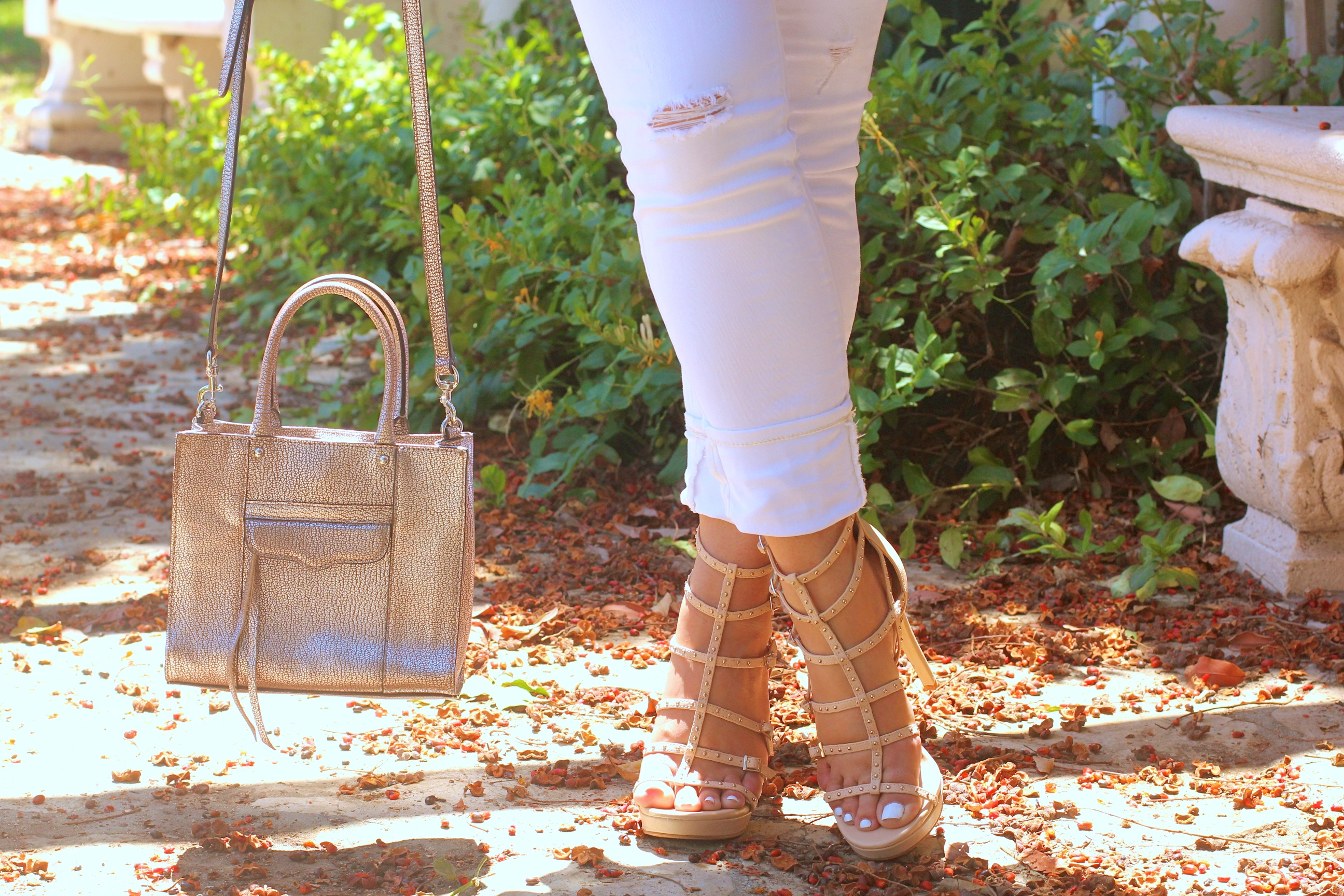 missyonmadison, melissa tierney, long sleeve cold shoulder top, long sleeve babydoll cold shoulder top, white skinny jeans, white old navy skinny jeans, white distressed jeans, vince camuto, vince camuto gladiator sandals, strappy heeled sandals, tan heeled sandals, rebecca minkoff, my r, rebecca minkoff mini mab tote, poshmark, rebecca minkoff metallic bag, ray bans, blue aviators, ray ban aviators, brunette hair, beverly hills, la blogger, winter white, white jeans in winter, how to style white jeans, fashion blogger, style blogger, ootd, outfit inspo, outfit inspiration,